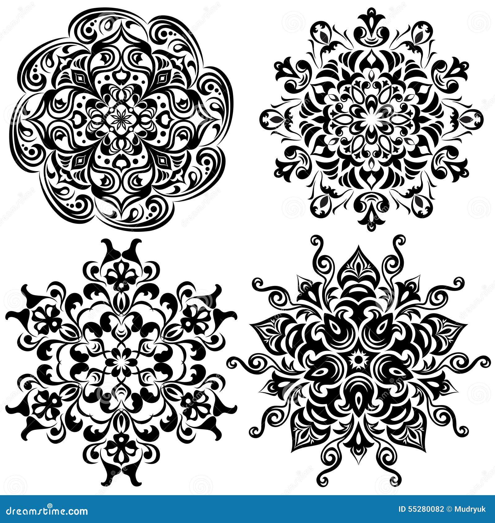 Ensemble de tatouage de mod le mandala dans le noir - Modele de mandala ...