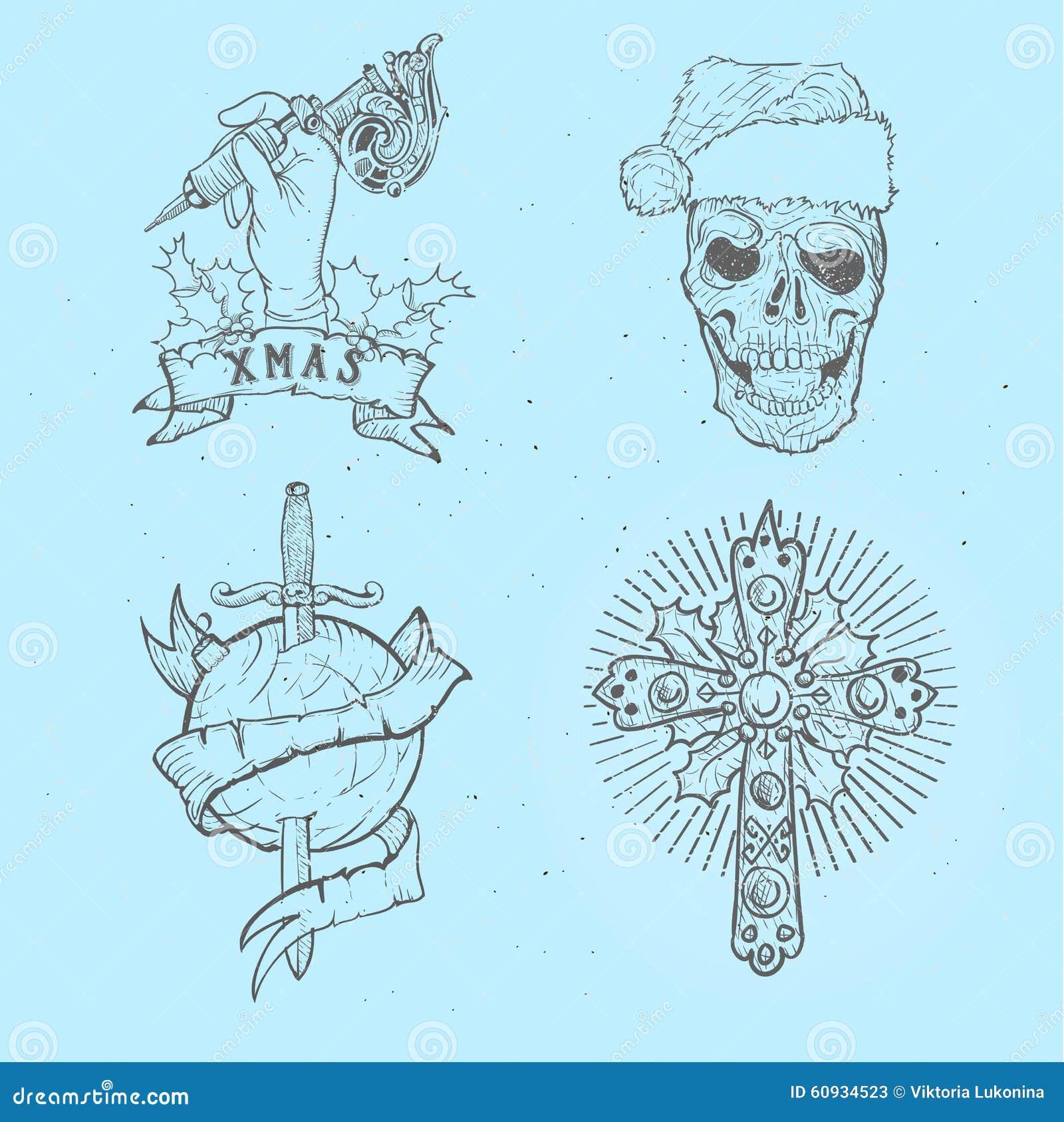 Ensemble De Tatouage De Noel Illustration De Vecteur Illustration