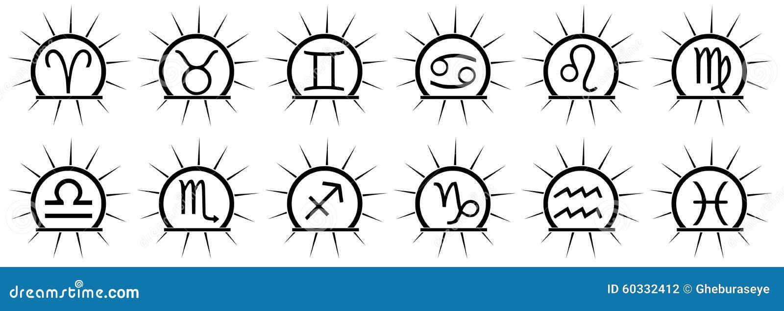 Ensemble De Tatouage De Signes De Zodiaque Dans Le Noir Illustration