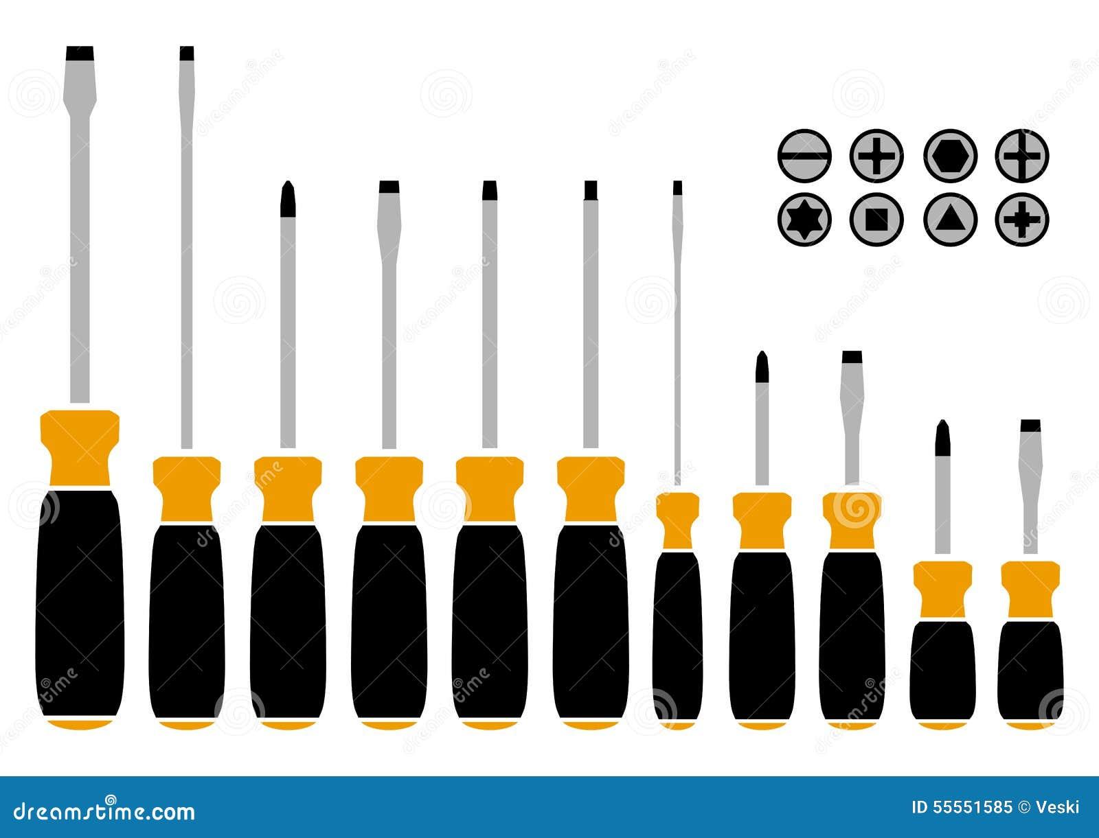 ensemble de tournevis vecteur illustration de vecteur