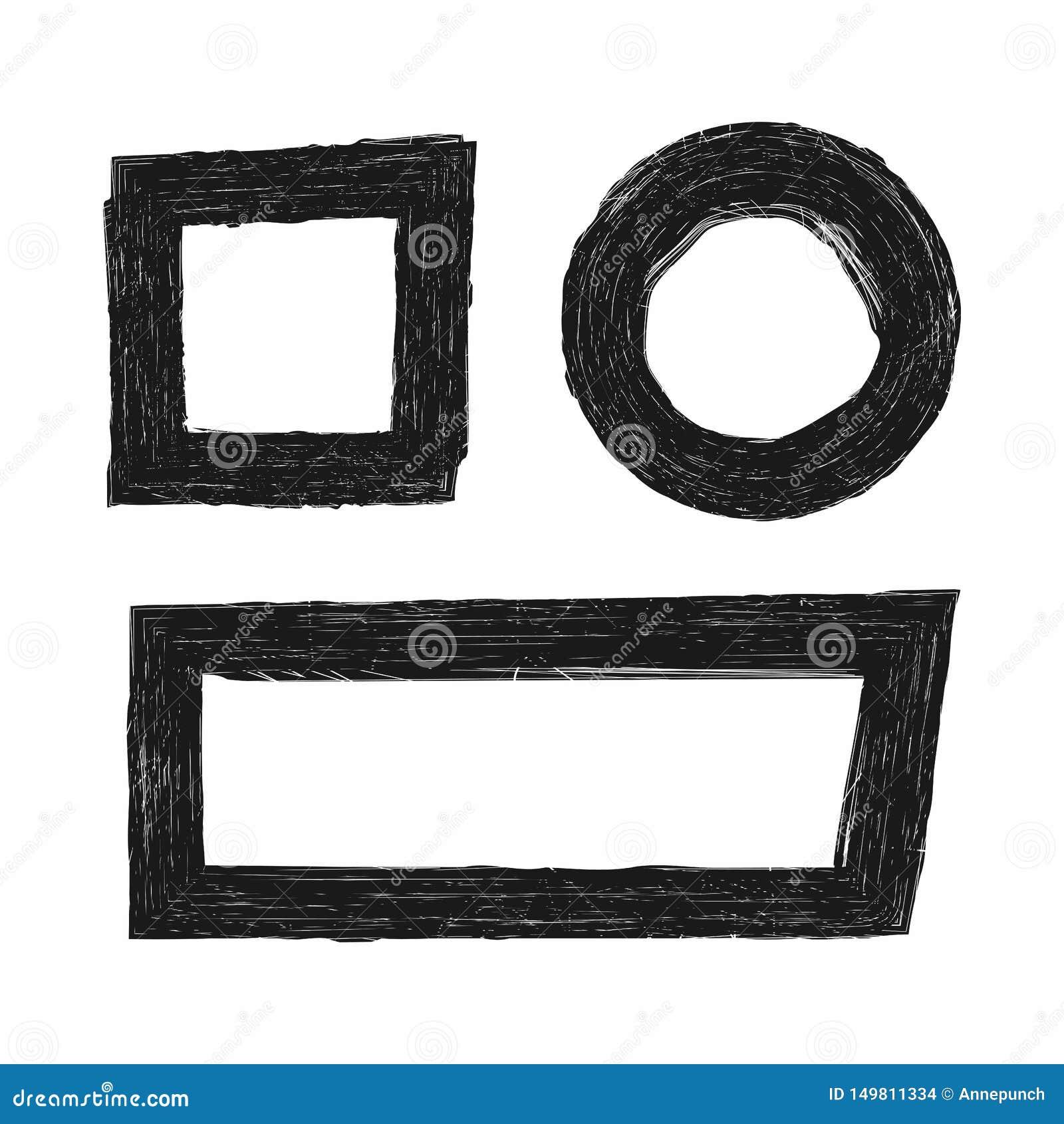 Ensemble de trames grunges Éléments ronds, carrés, rectangulaires Croquis, éraflures, peinture