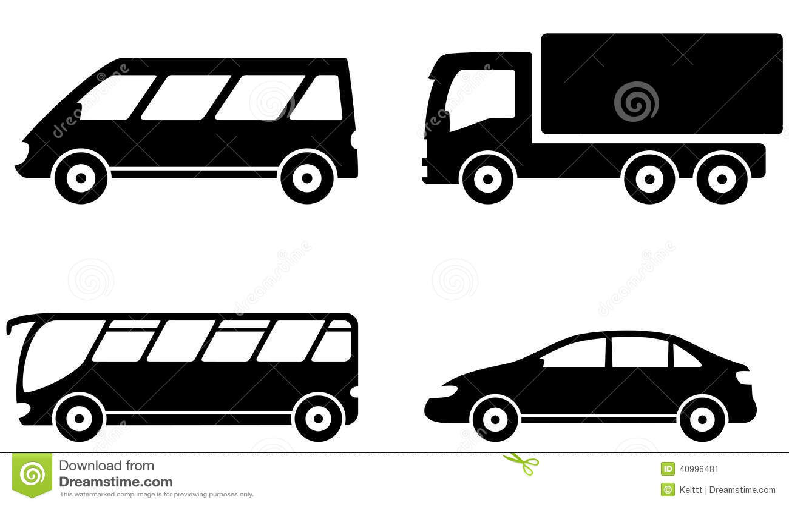 ensemble de transport de v hicule d 39 autobus de camion et de voiture illustration de vecteur. Black Bedroom Furniture Sets. Home Design Ideas