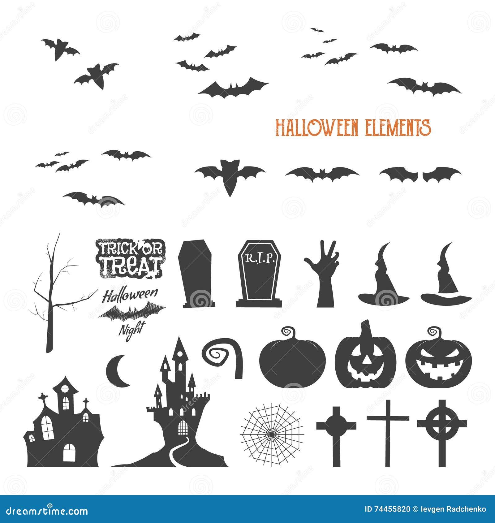 Ensemble de trousse à outils de création de conception de Halloween Isolat d icônes Créateur plat de conception de vacances Symbo