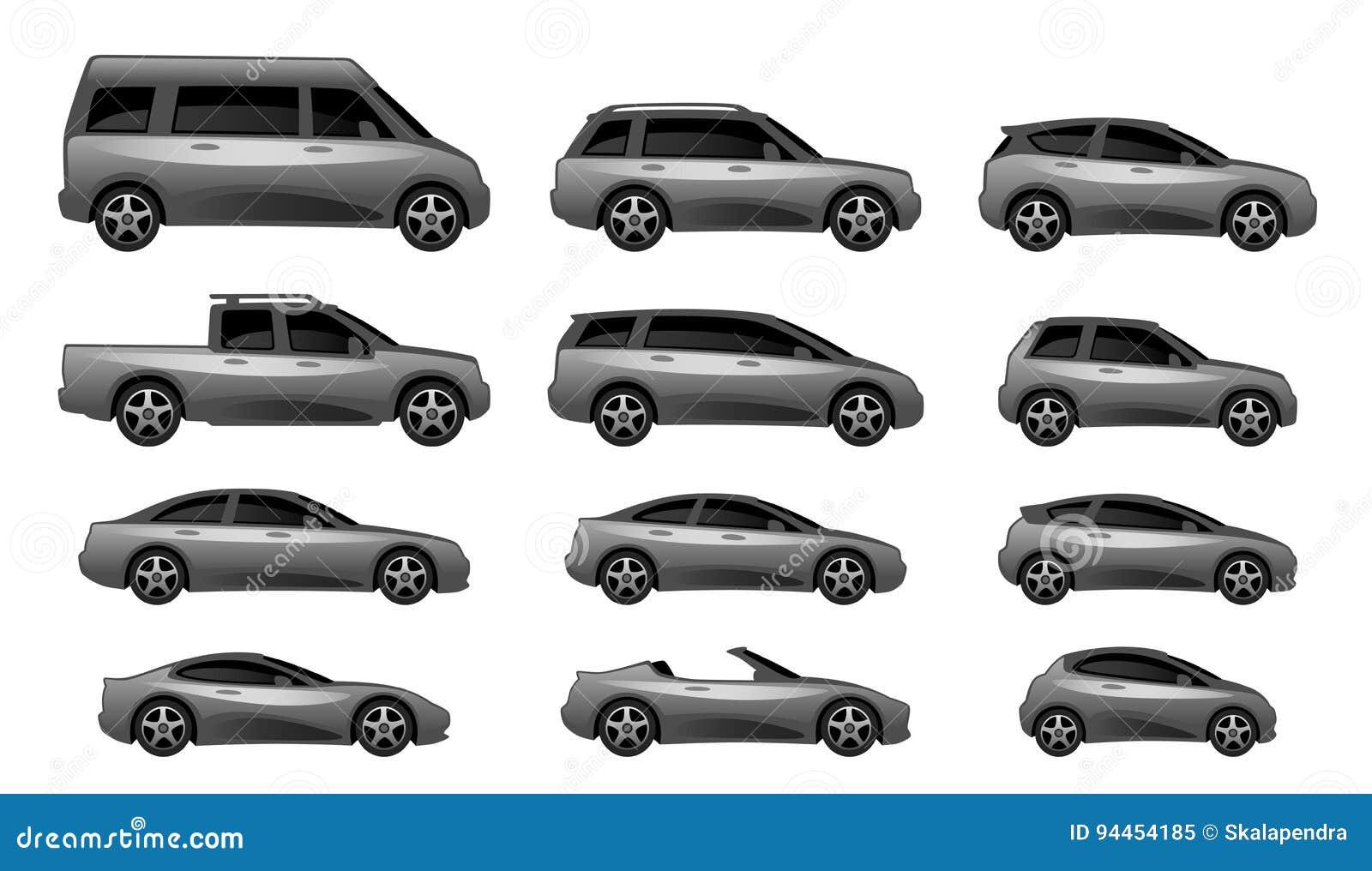 ensemble de type diff rent de voiture illustration de vecteur illustration du graphisme route. Black Bedroom Furniture Sets. Home Design Ideas