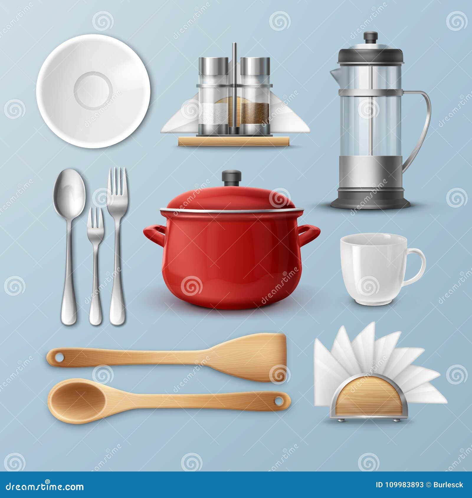 le dernier 77c16 77976 Ensemble De Vaisselle De Cuisine Illustration de Vecteur ...