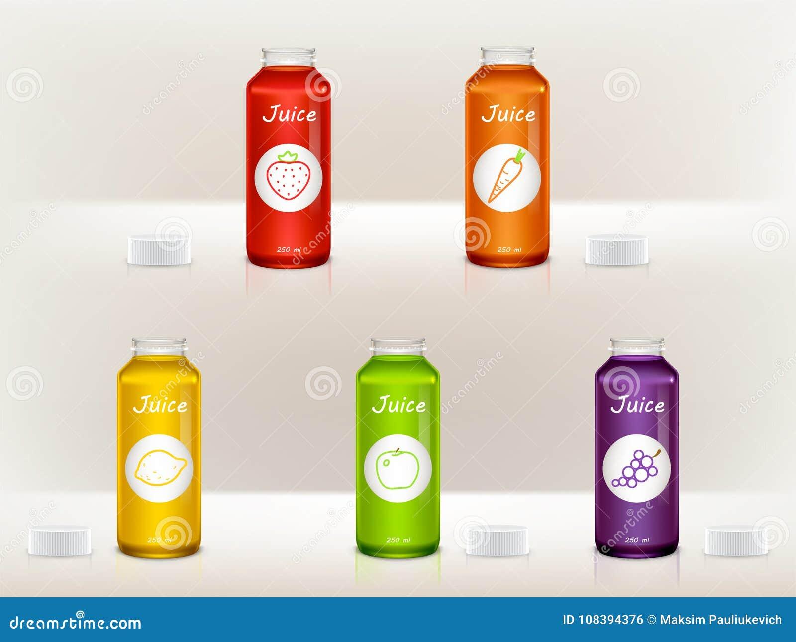 ensemble de vecteur de bouteilles réalistes de jus, pots verre