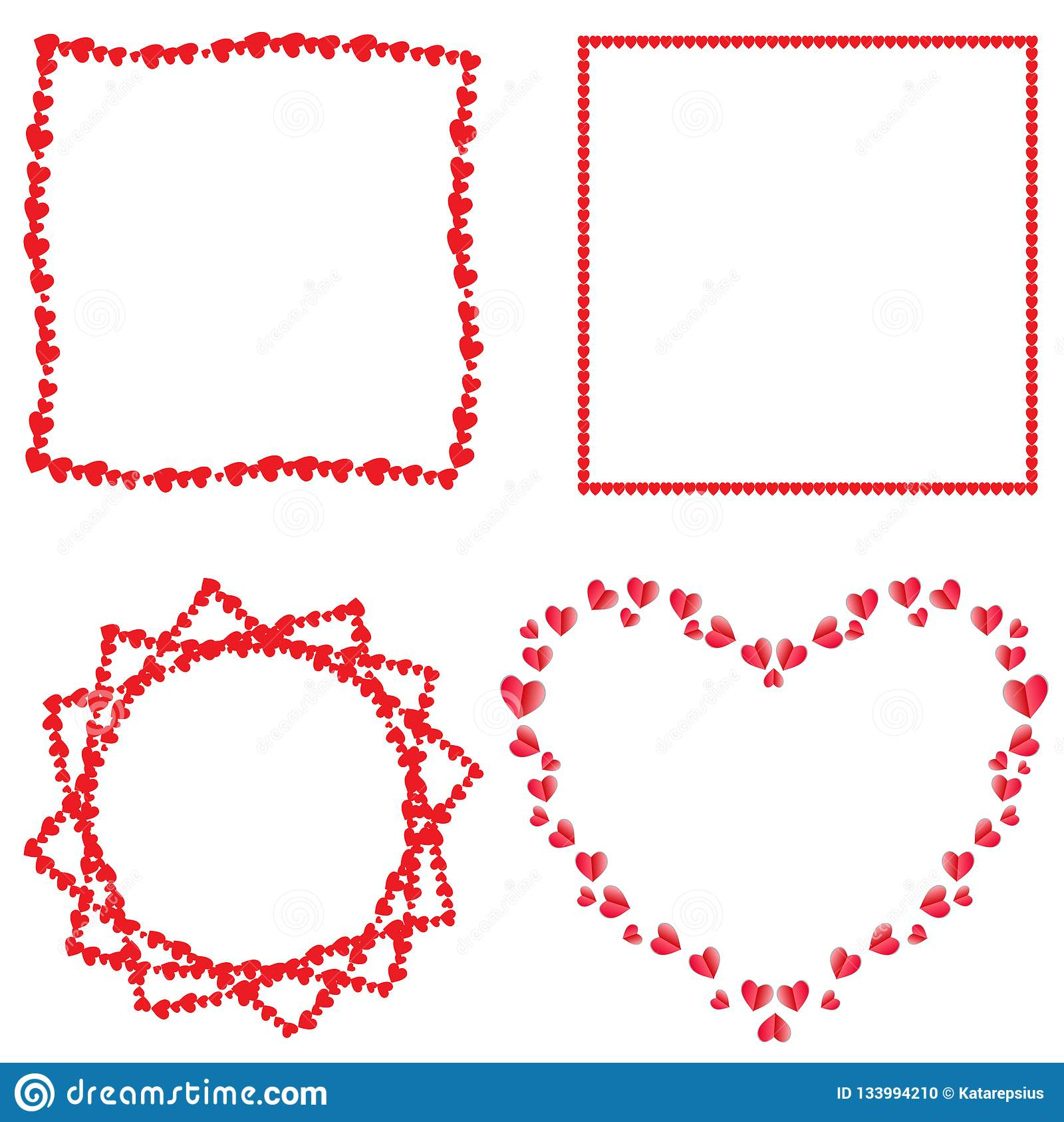 Ensemble de vecteur de cadres rouges mignons de coeurs d amour pour la conception romantique
