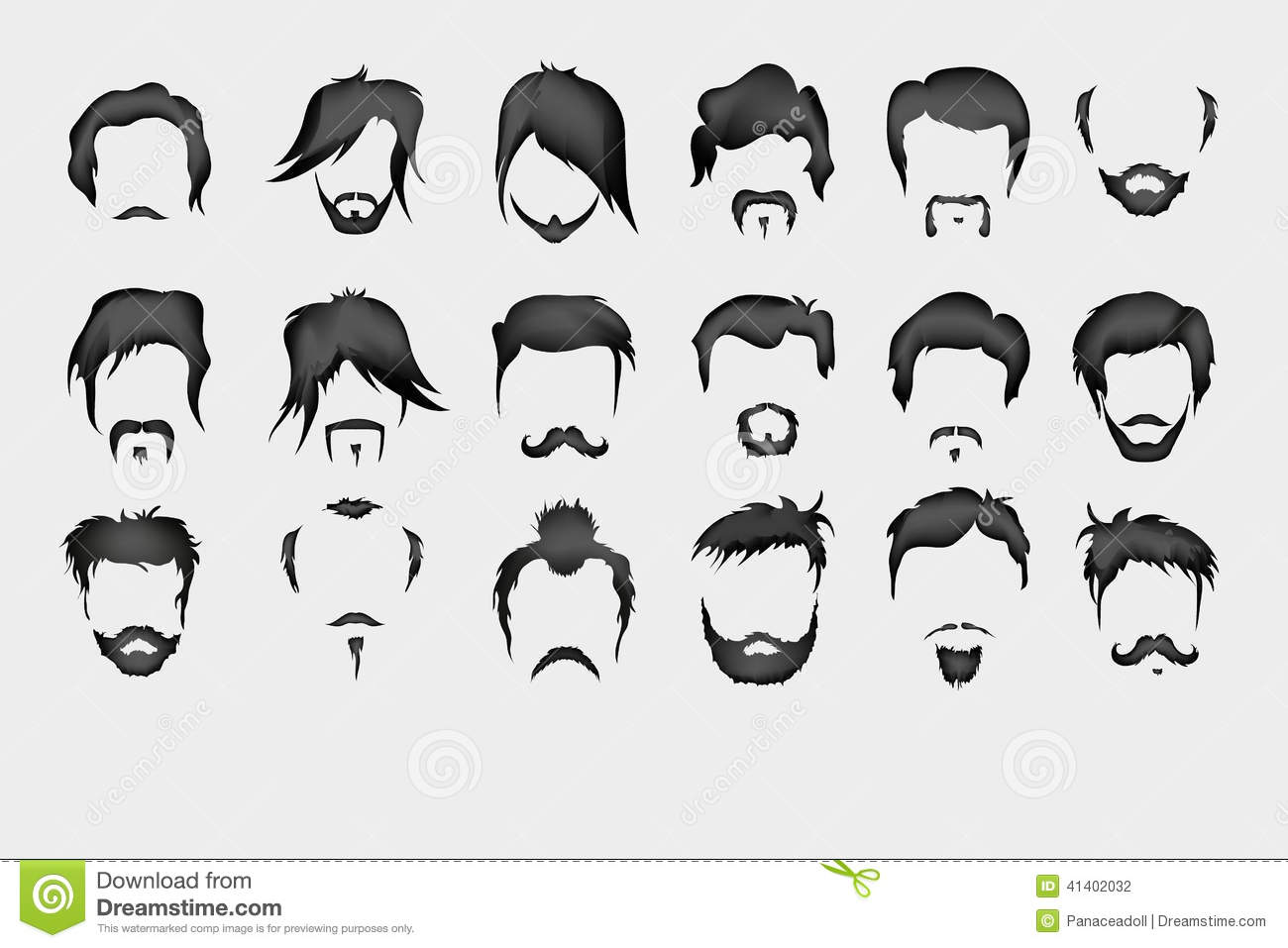 Hairstyle Vector: Ensemble De Vecteur Cheveux, Moustache, Barbe Illustration