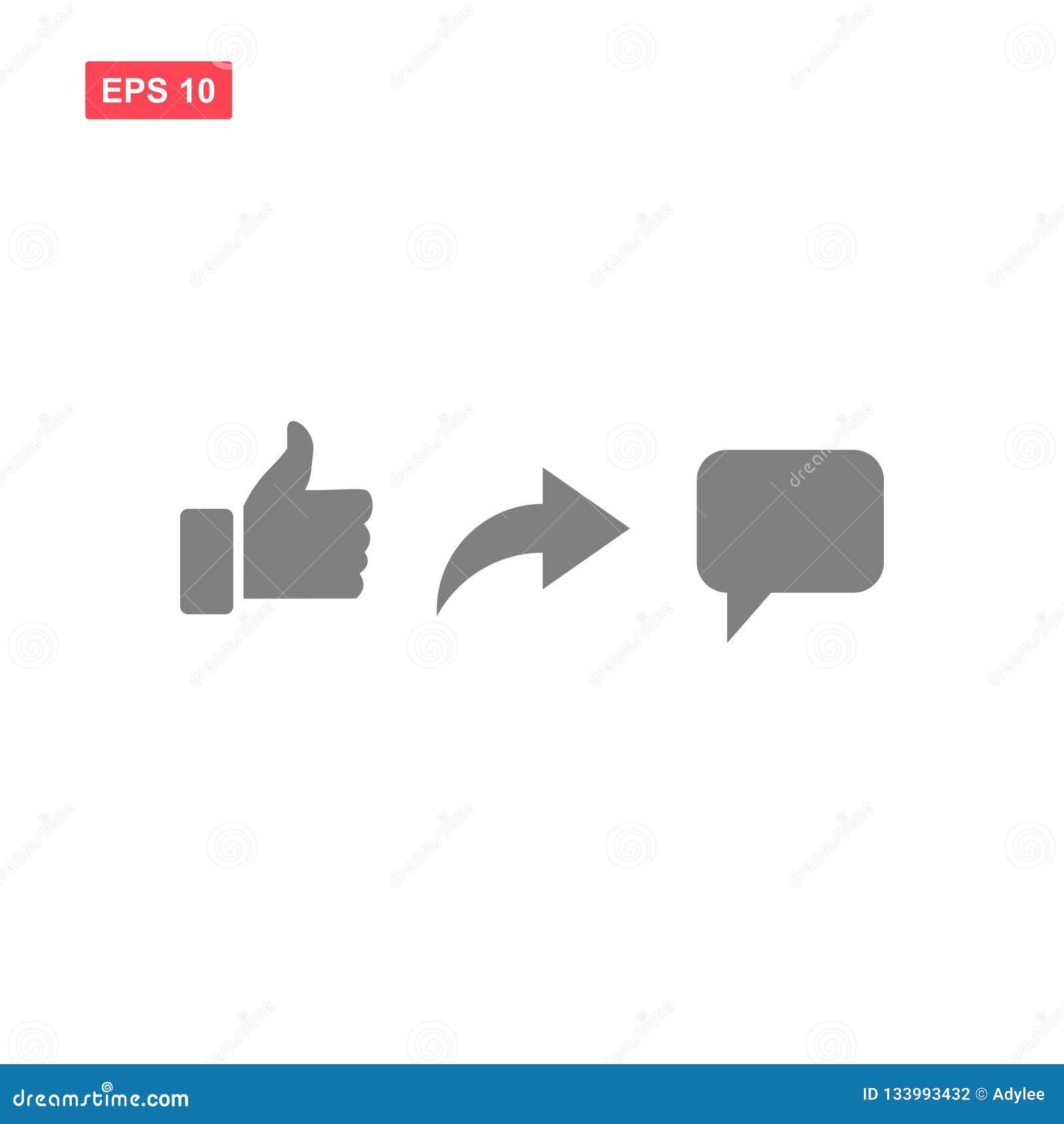 Ensemble de vecteur comme l icône de social de media de commentaire de part