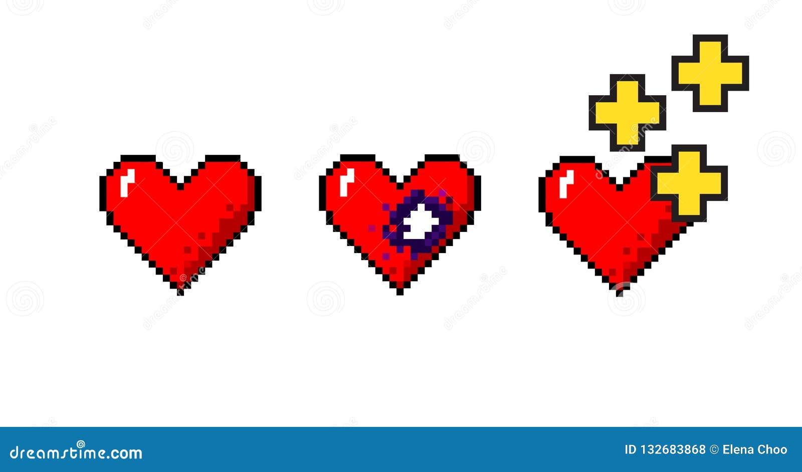 Ensemble de vecteur de concepts médicaux de coeurs de pixelart
