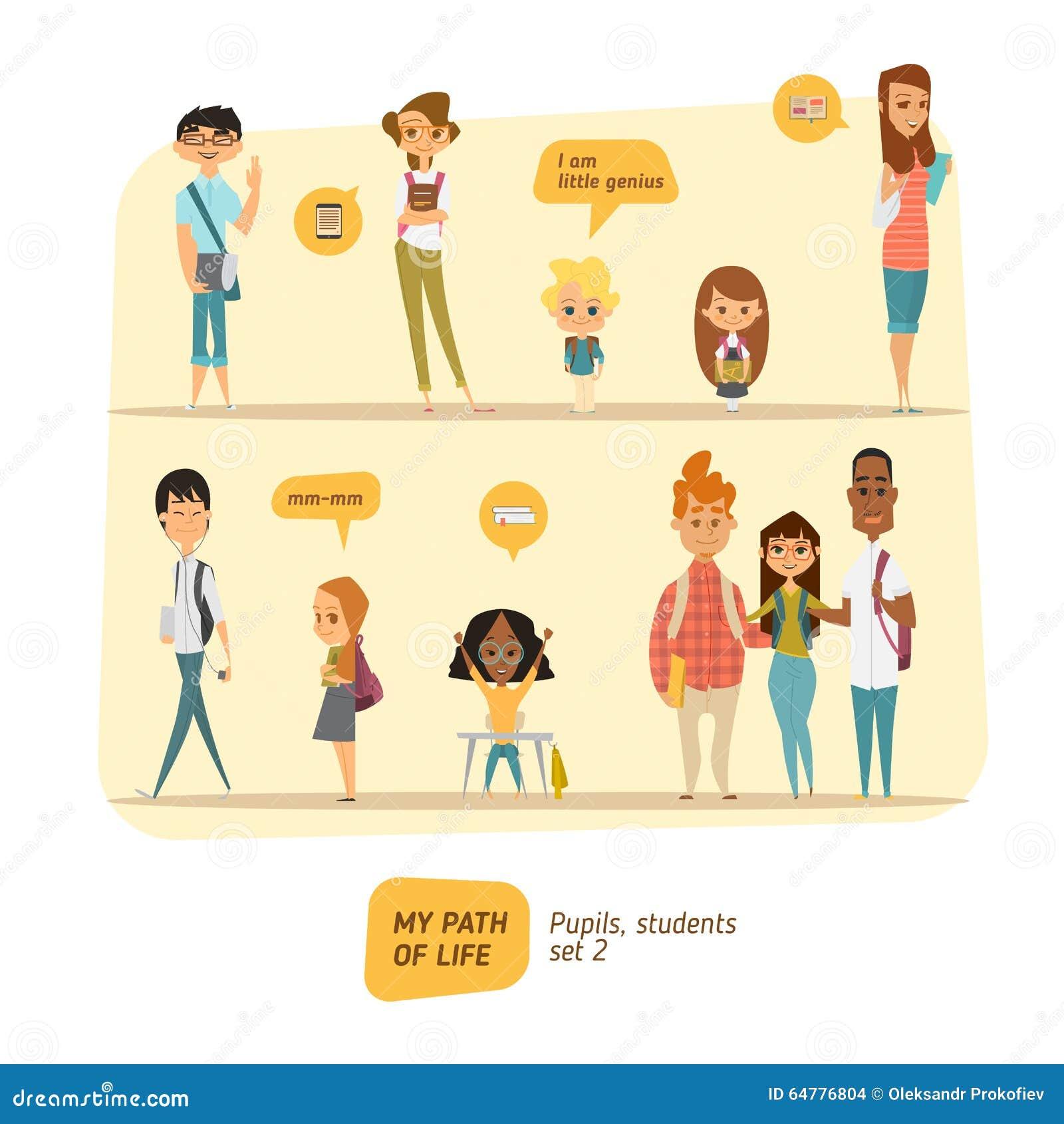 Ensemble de vecteur d élèves et d étudiants