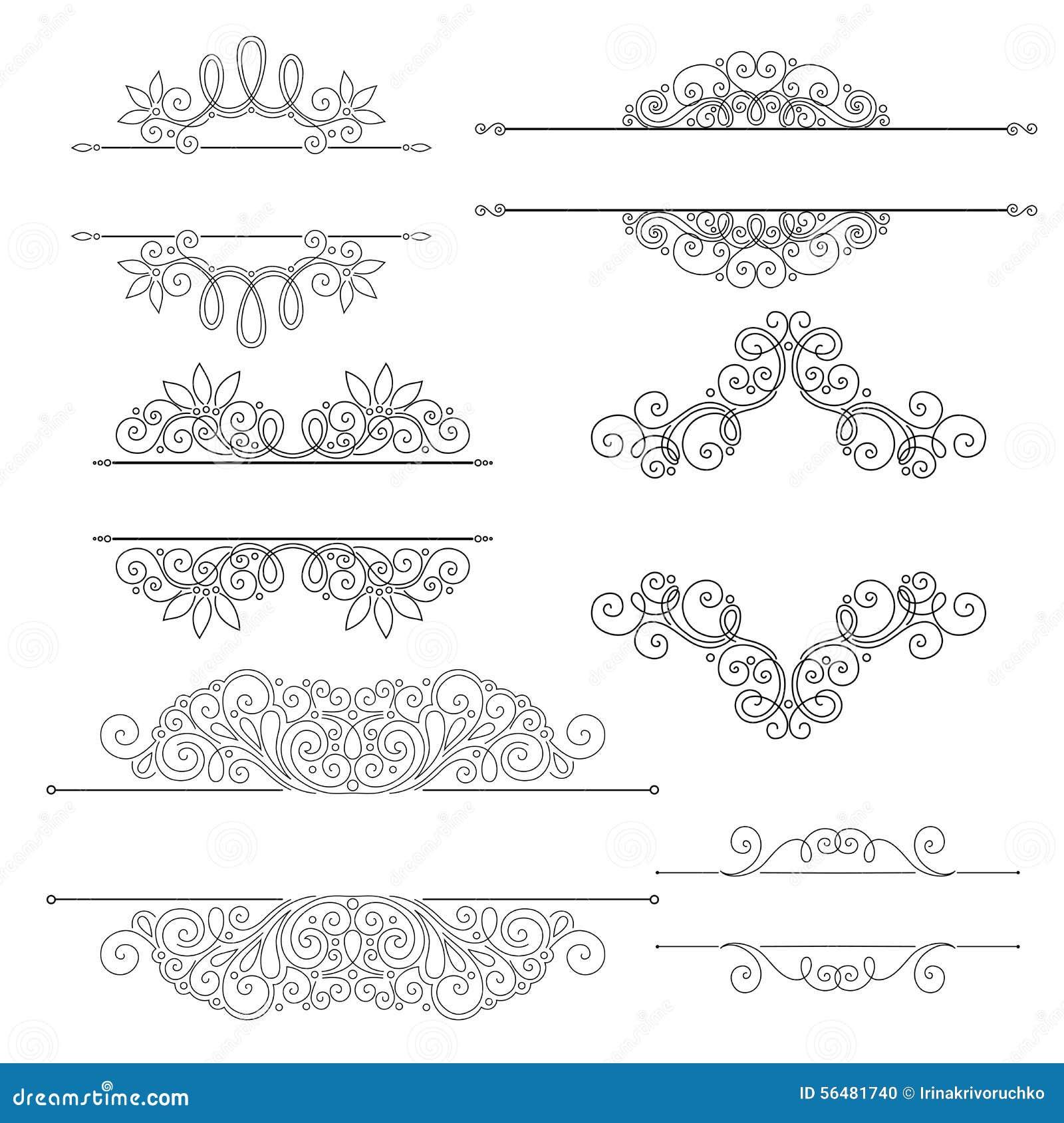 Ensemble de vecteur d éléments de conception et de décorations calligraphiques de page