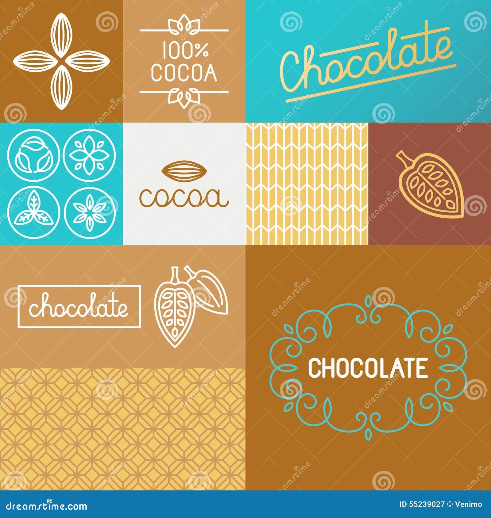 Ensemble de vecteur d éléments de conception pour l emballage de chocolat