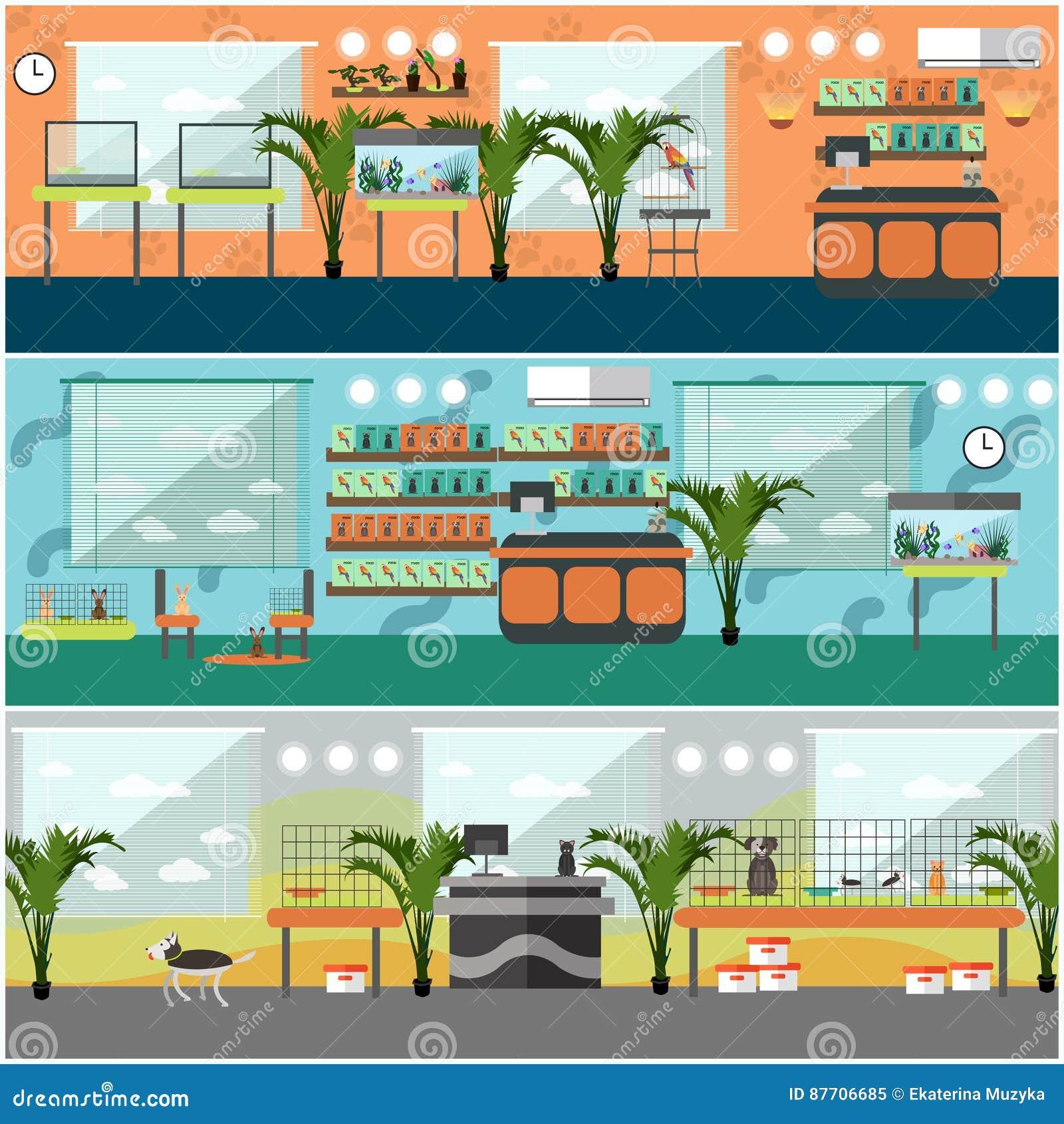 Ensemble de vecteur d affiches intérieures de concept de magasin de bêtes, style plat