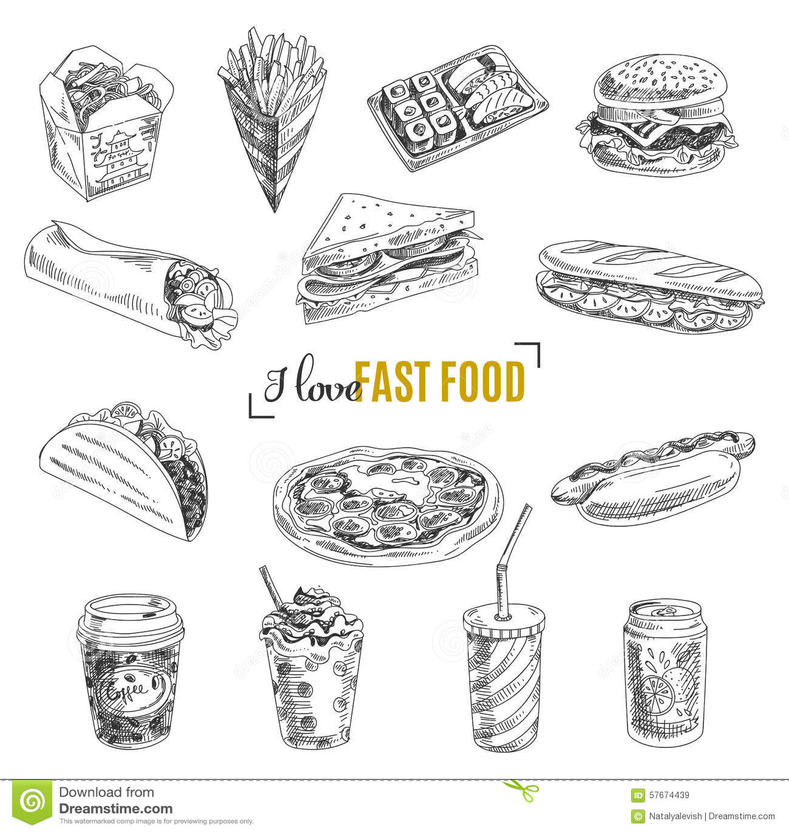 Ensemble de vecteur d aliments de préparation rapide Illustration dans le croquis