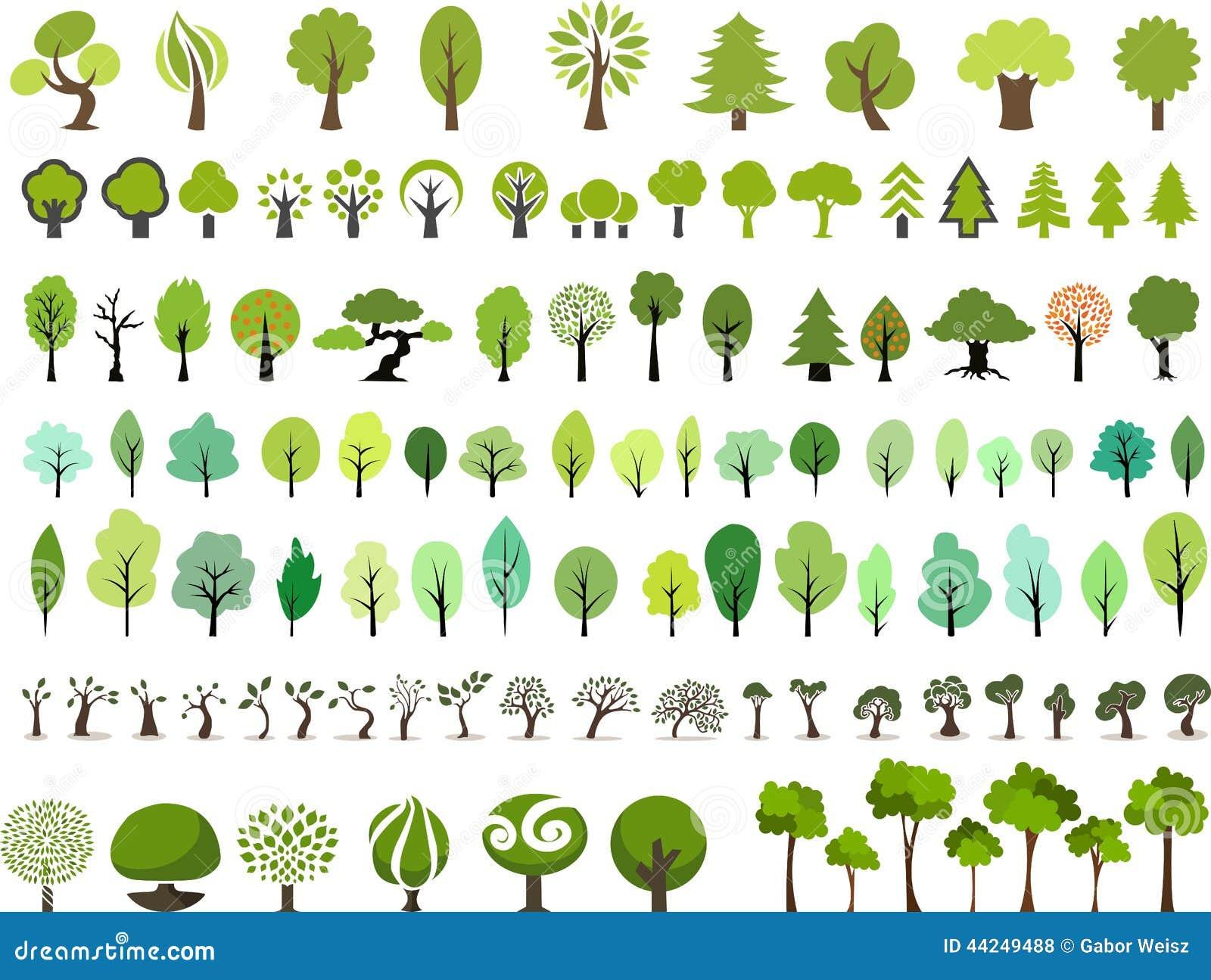 Ensemble de vecteur d arbres avec le style différent