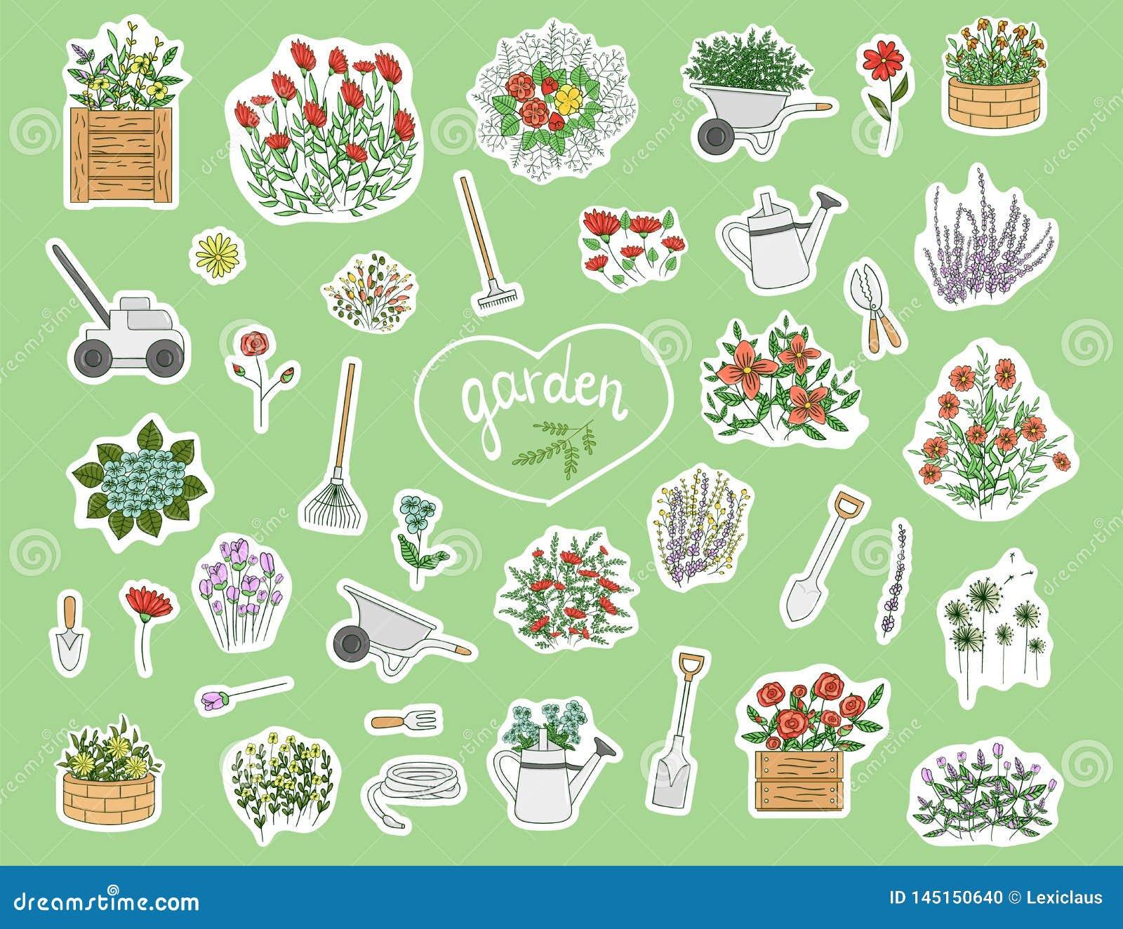 Les Outils De Jardinage Avec Photos ensemble de vecteur d'autocollants color?s avec des outils
