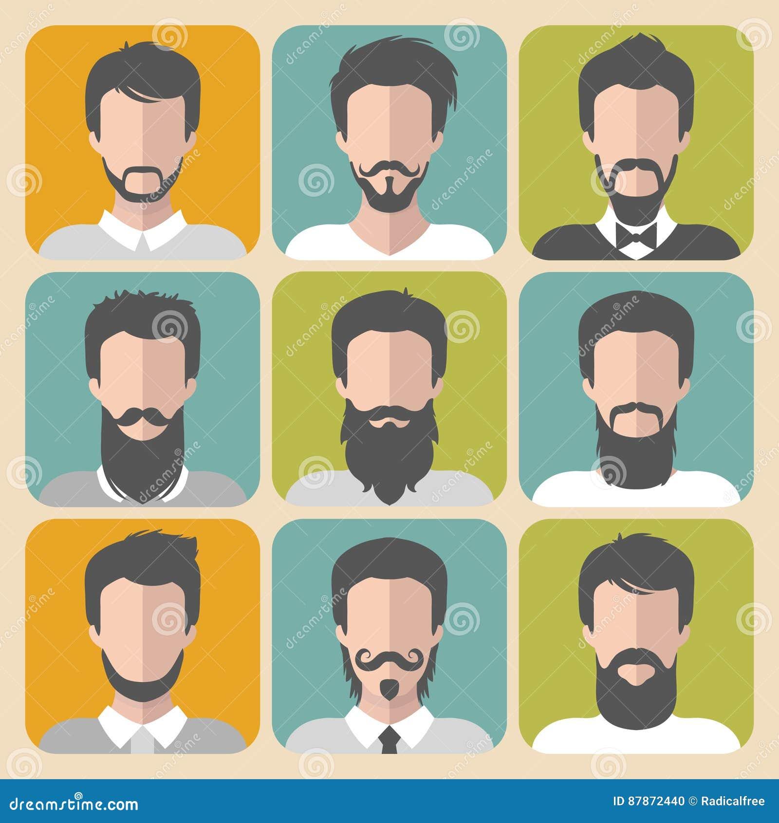 Ensemble de vecteur d homme différent avec des barbes et des icônes de la moustache APP dans le style plat