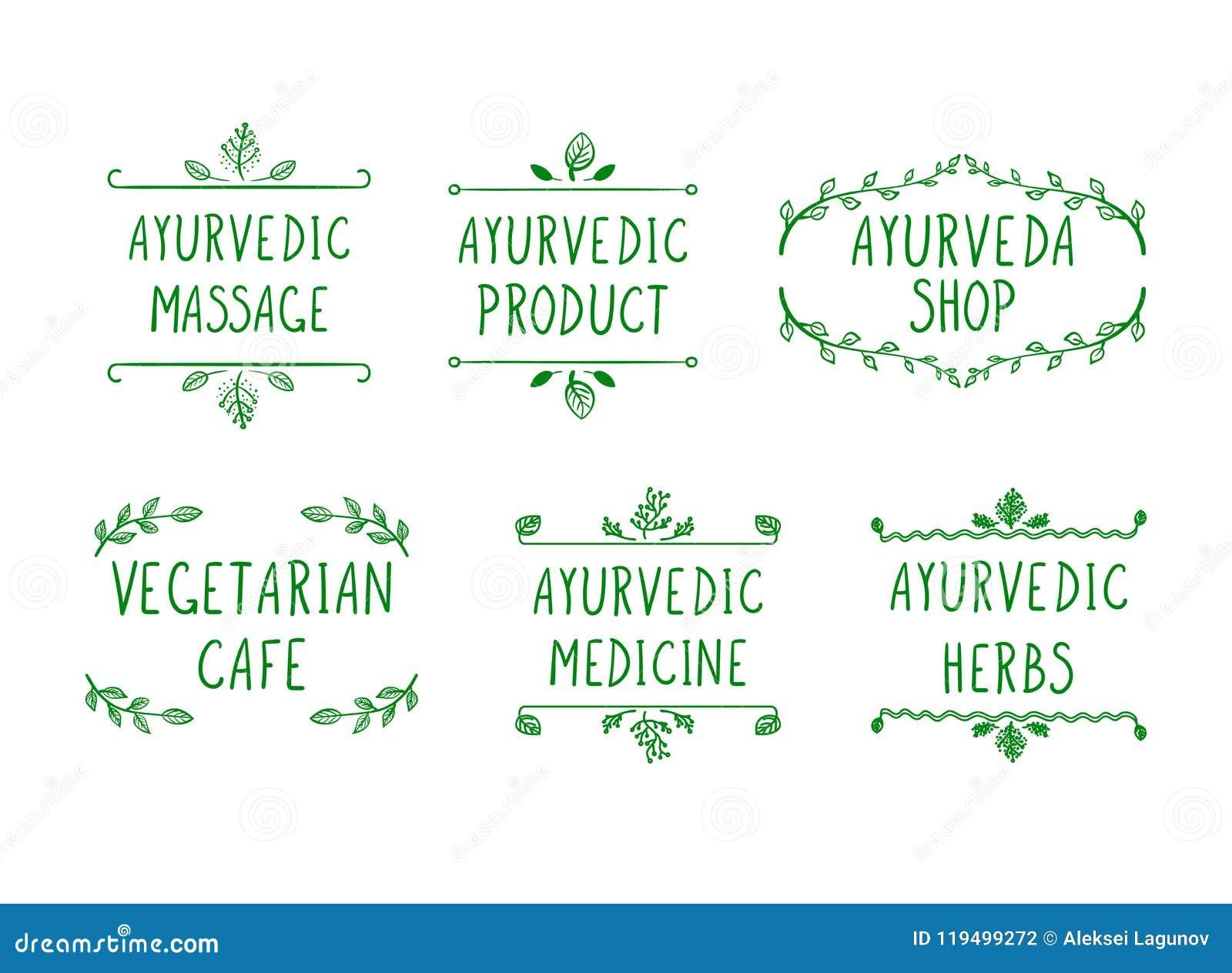 Ensemble de vecteur d icônes d Ayurvedic : Boutique d Ayurveda, herbes, produit, massage, médecine, café végétarien, cadres de gr