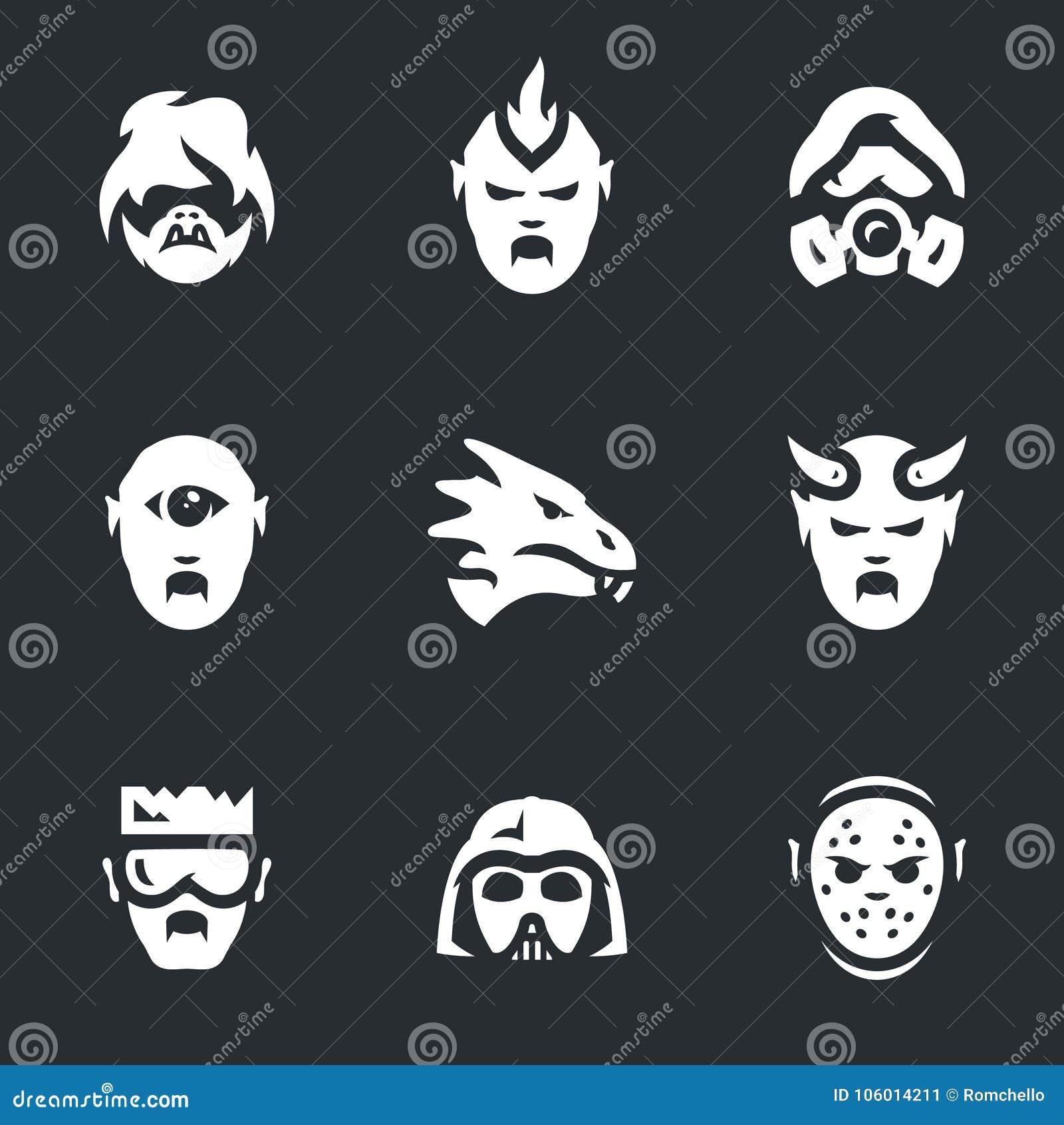 Ensemble de vecteur d icônes de caractères de Courrier-apocalypse
