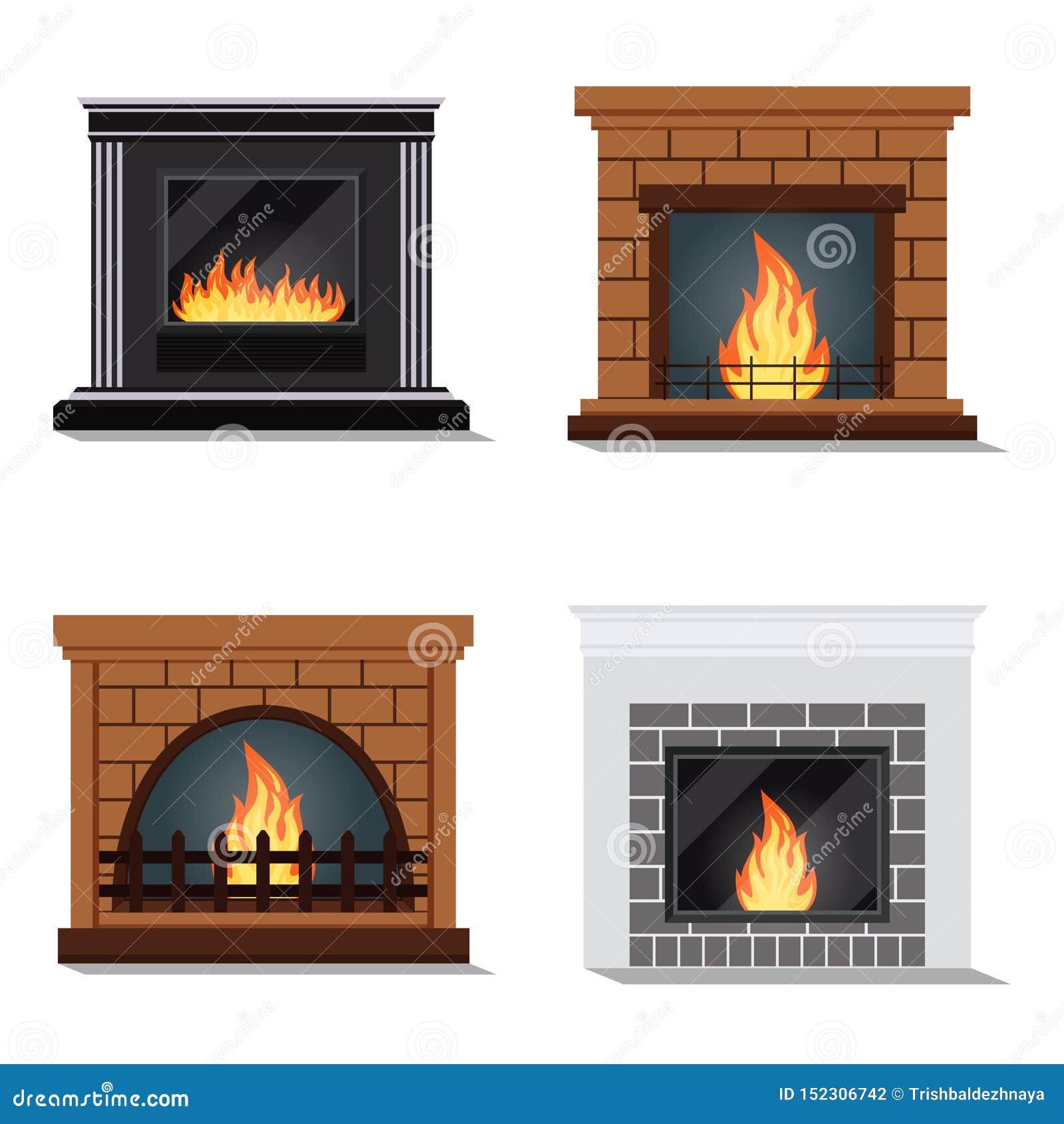 Ensemble de vecteur d icônes d isolement de cheminée fireburning confortable