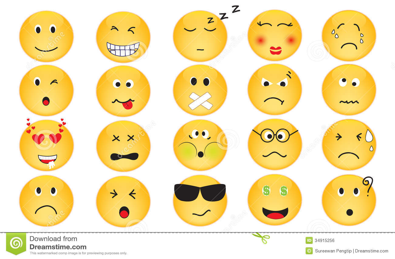 Ensemble de vecteur d icônes d émotion