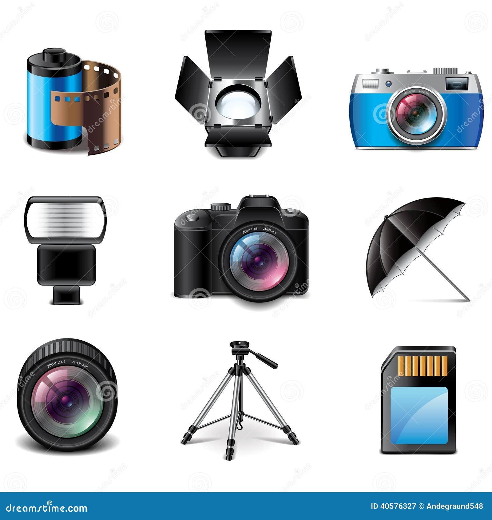 Ensemble de vecteur d icônes d équipement de photographie