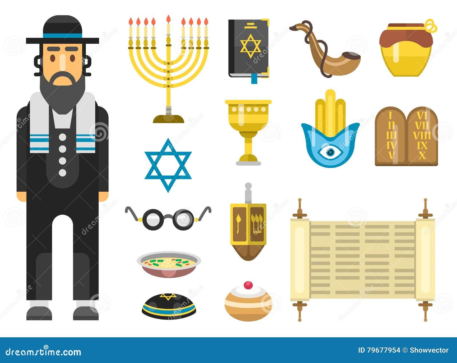 Ensemble de vecteur d icônes de juif
