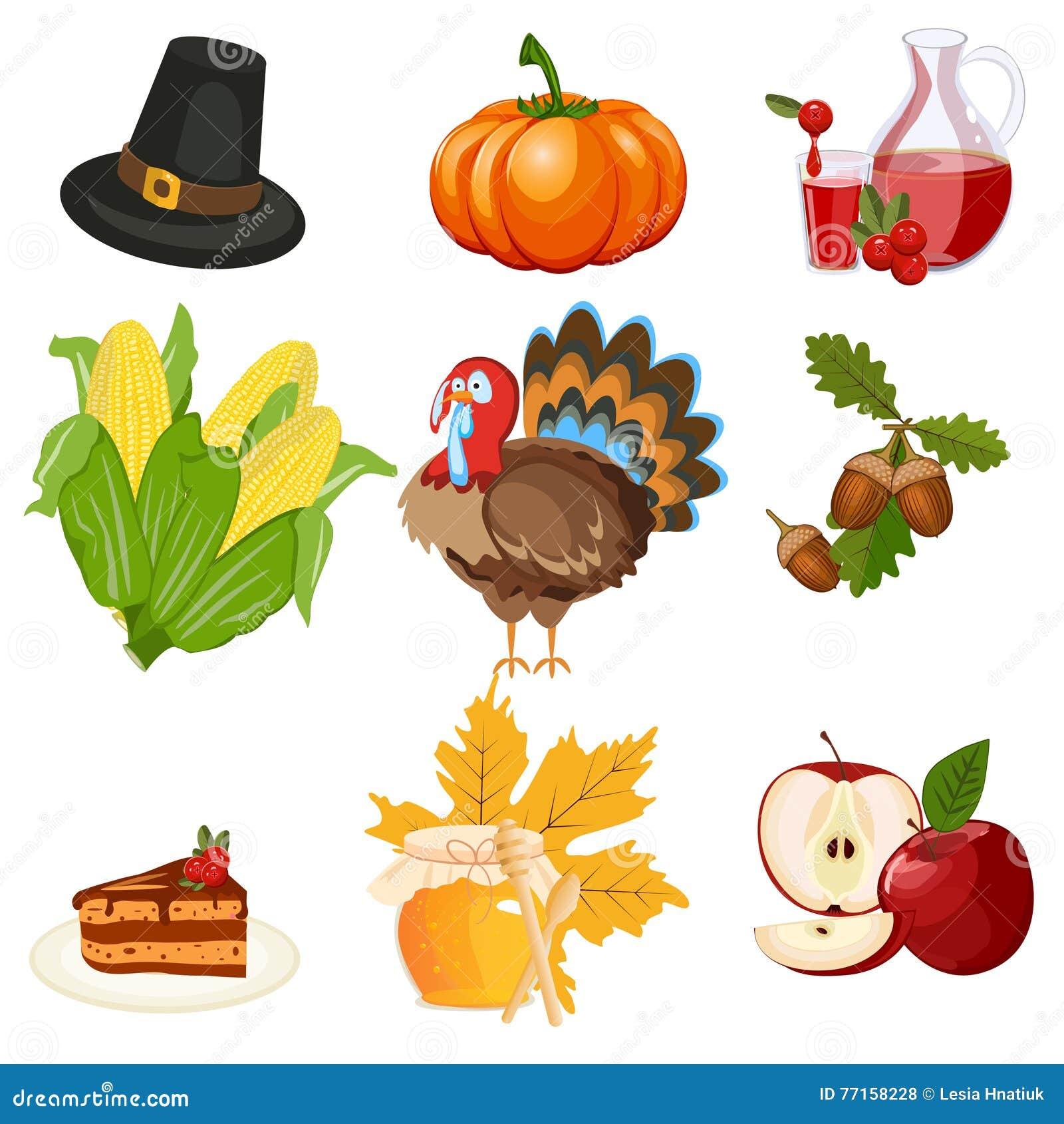 Ensemble de vecteur d icônes de thanksgiving