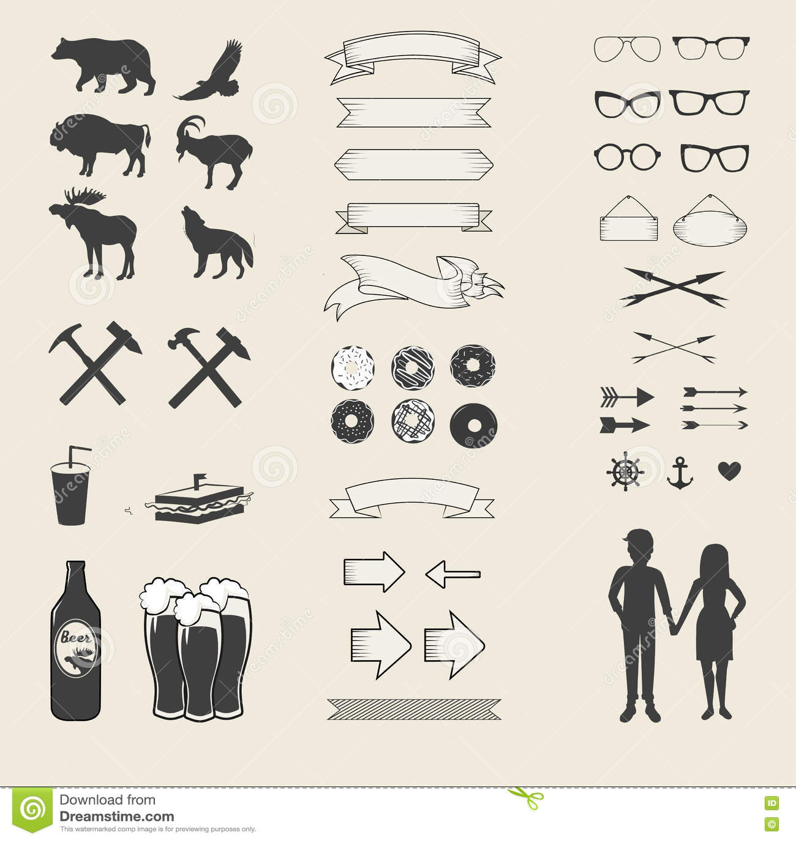 Ensemble de vecteur d icônes et de labels pour votre conception