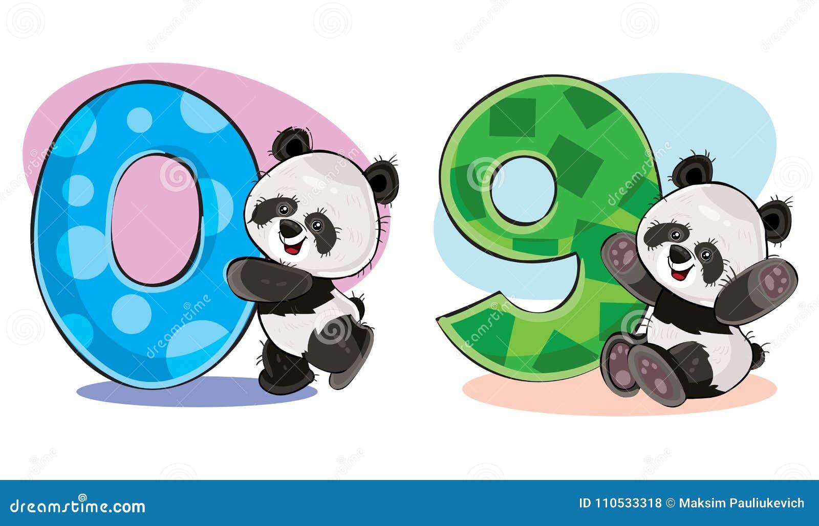 Ensemble De Vecteur D Ours Panda Mignons De Bebe Avec Des Nombres Illustration De Vecteur Illustration Du Bebe Ours 110533318