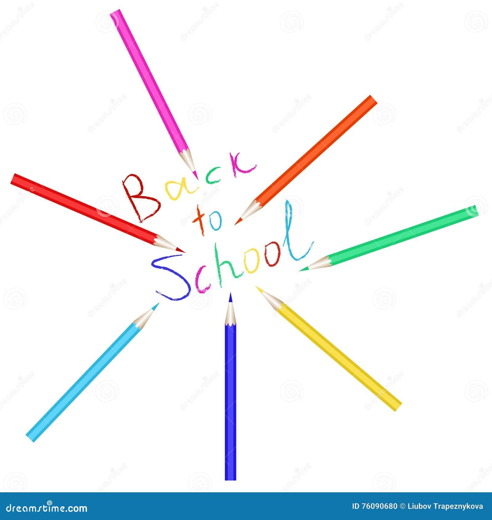 Ensemble de vecteur de crayons colorés L inscription de nouveau à l école écrite avec les crayons colorés