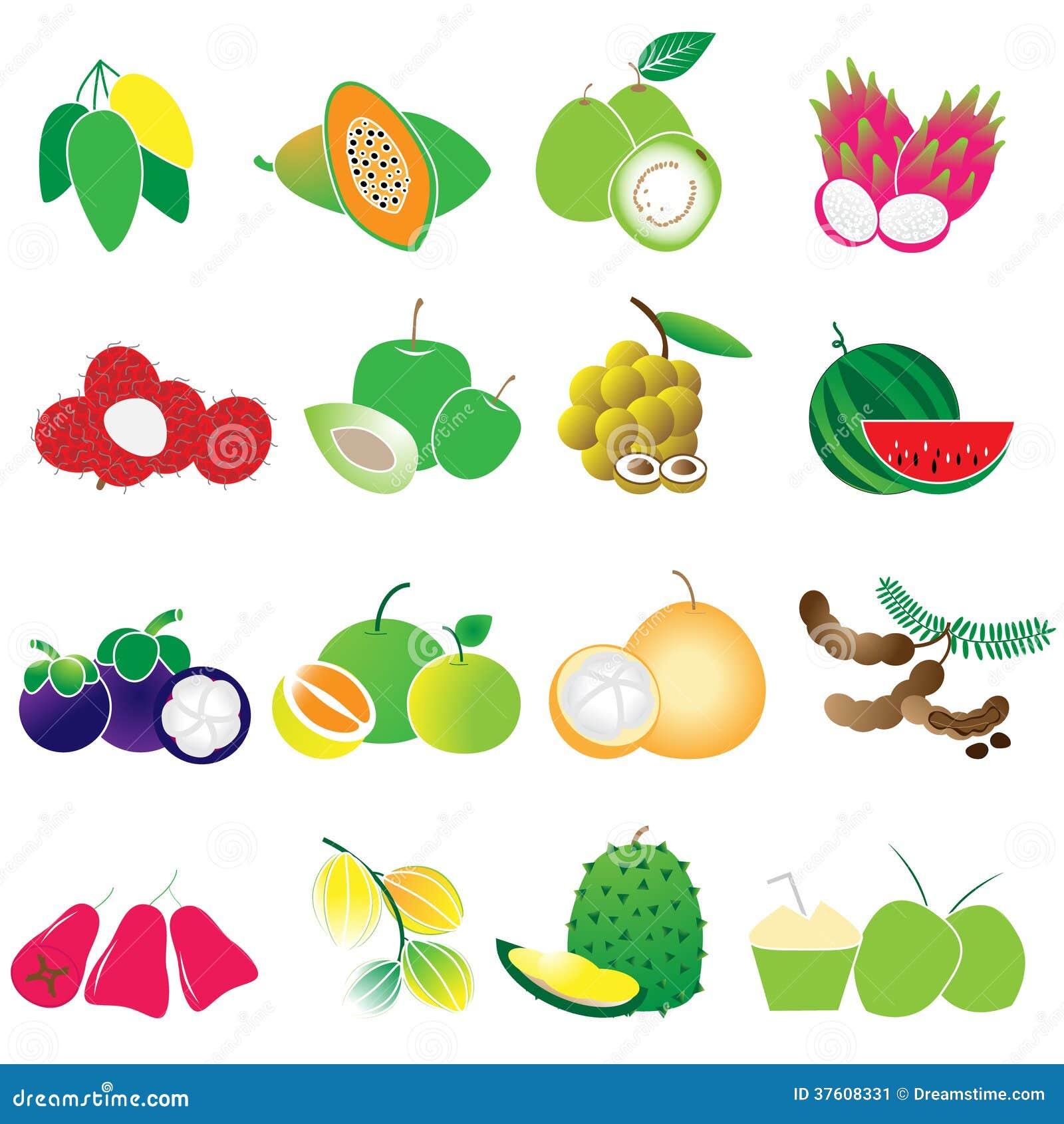 Ensemble de vecteur de fruits tropicaux