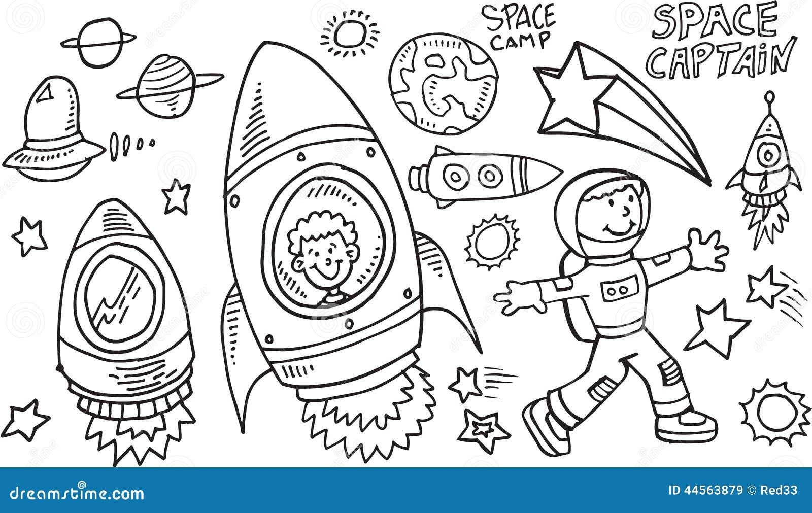 Ensemble de vecteur de griffonnage d espace extra-atmosphérique
