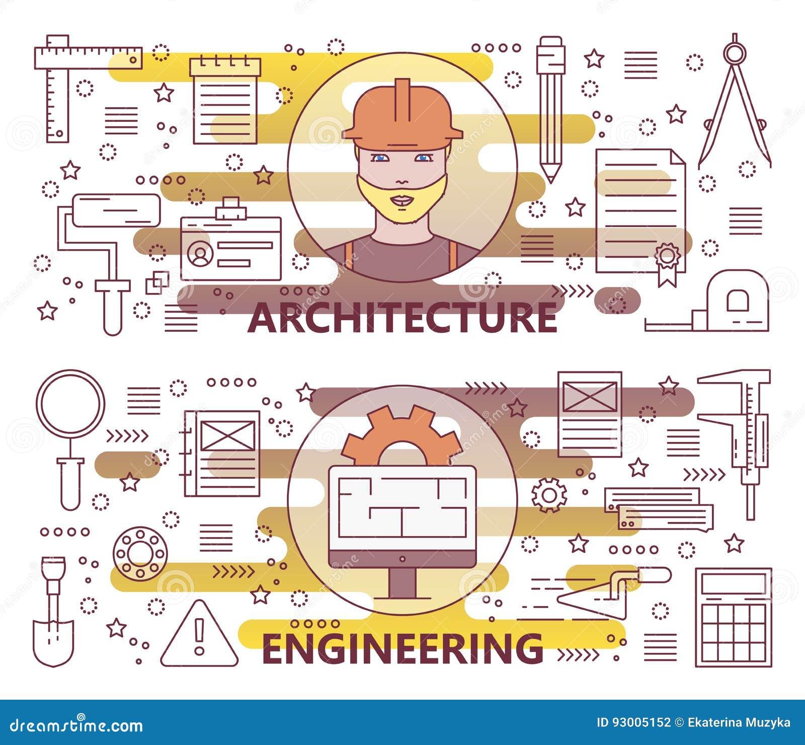 Ensemble de vecteur de ligne mince moderne architecture et de bannières d ingénierie