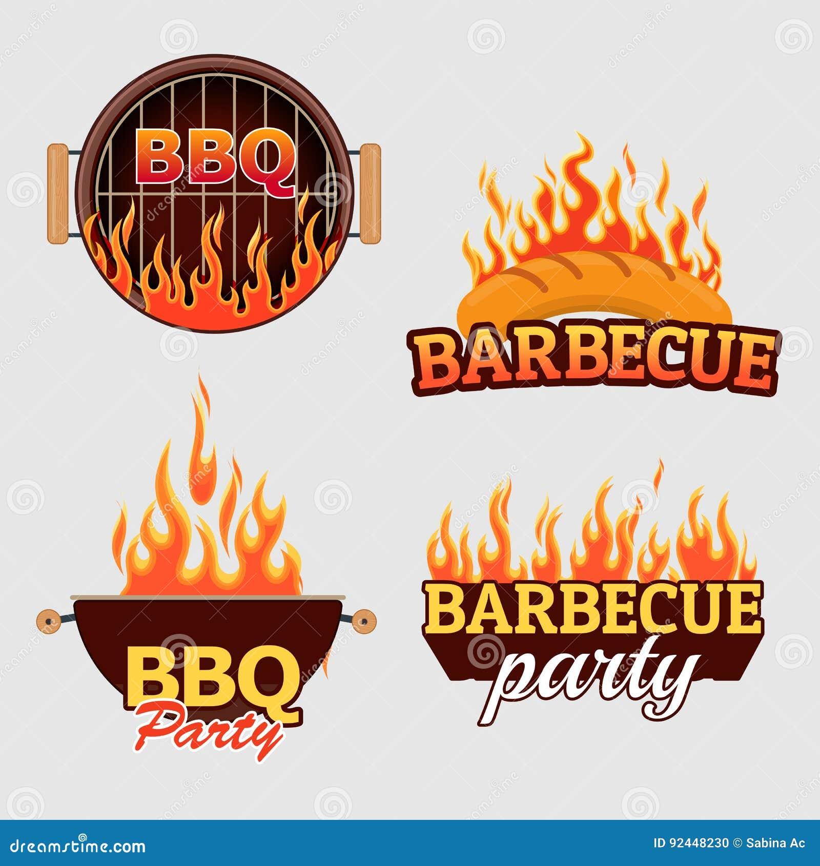 Ensemble de vecteur de logos et de labels de barbecue
