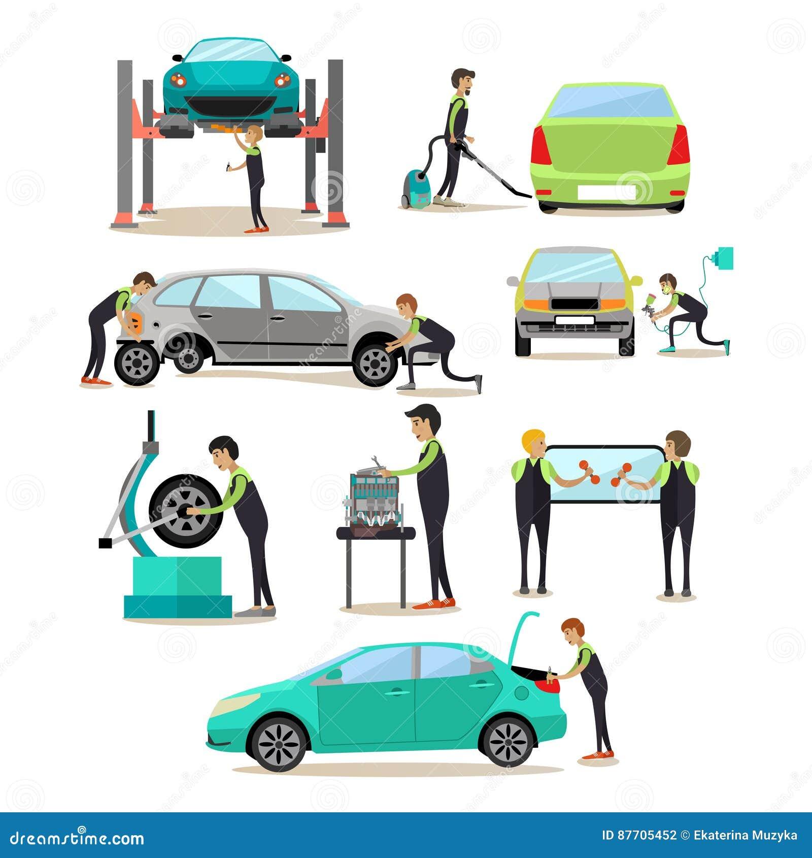 Ensemble de vecteur de service de voiture, icônes de travailleurs d atelier de réparations automatiques