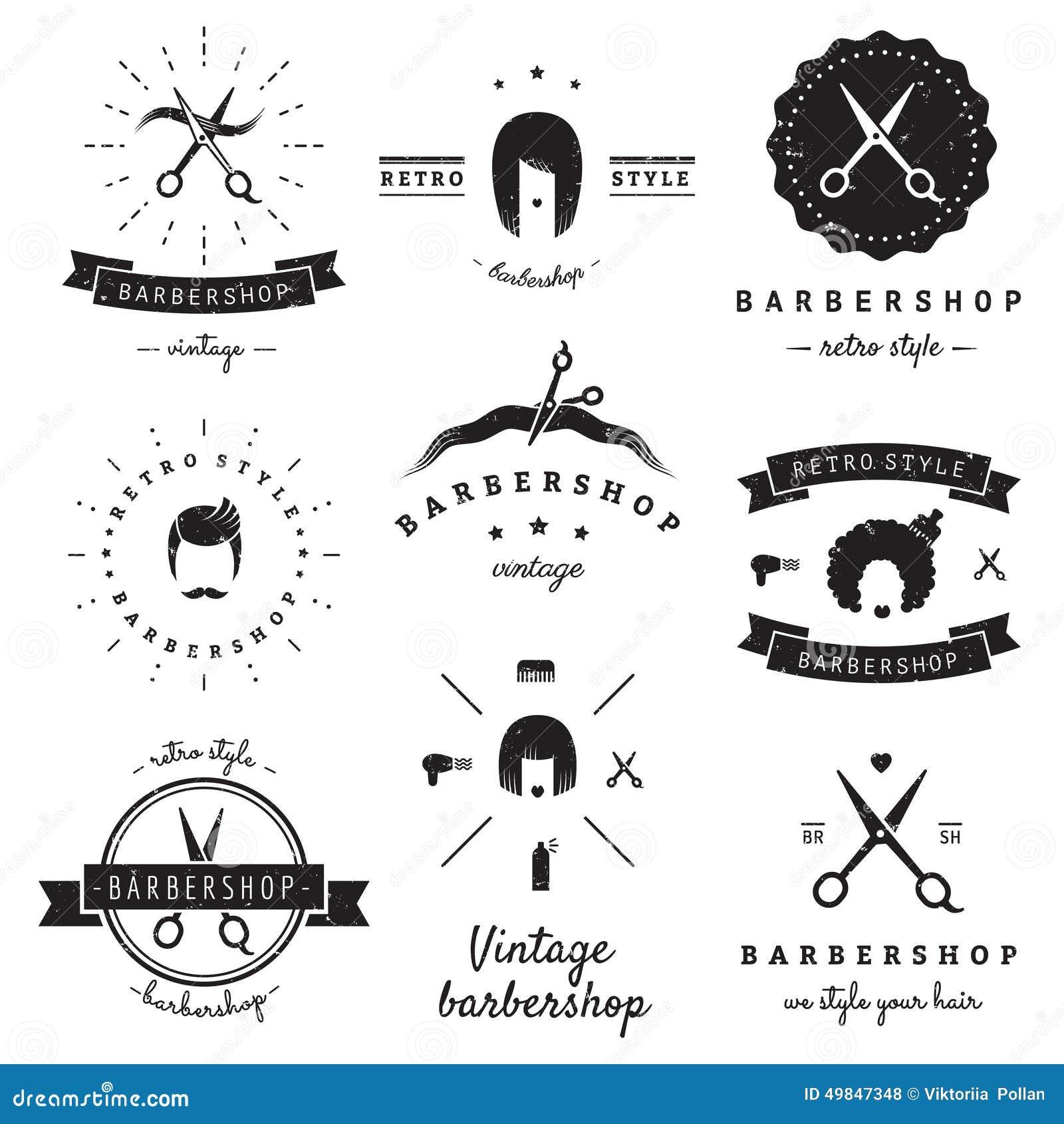 Ensemble de vecteur de vintage de logo de raseur-coiffeur (salon de coiffure) Hippie et rétro style