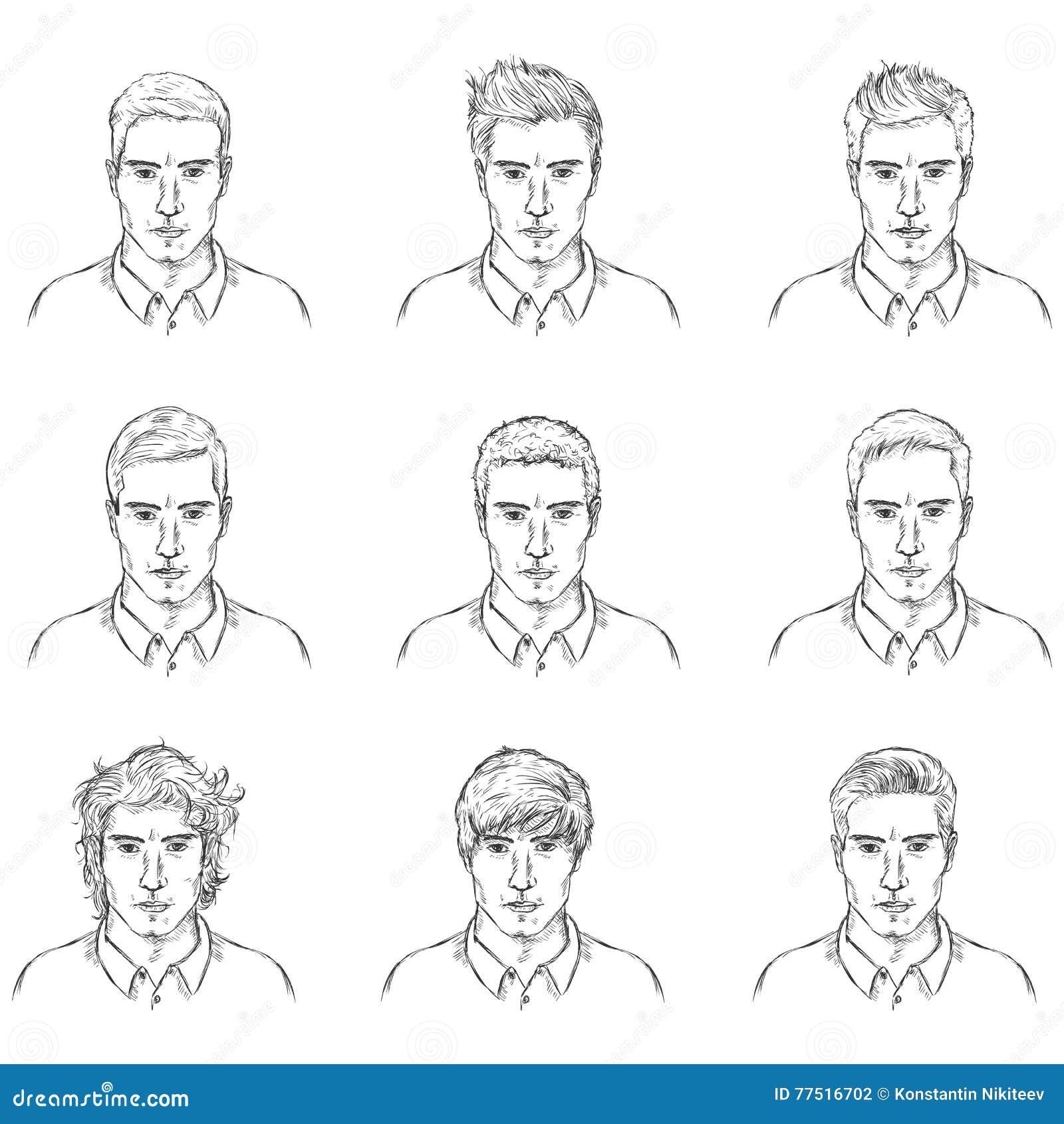 Ensemble de vecteur de visages de mâle de croquis