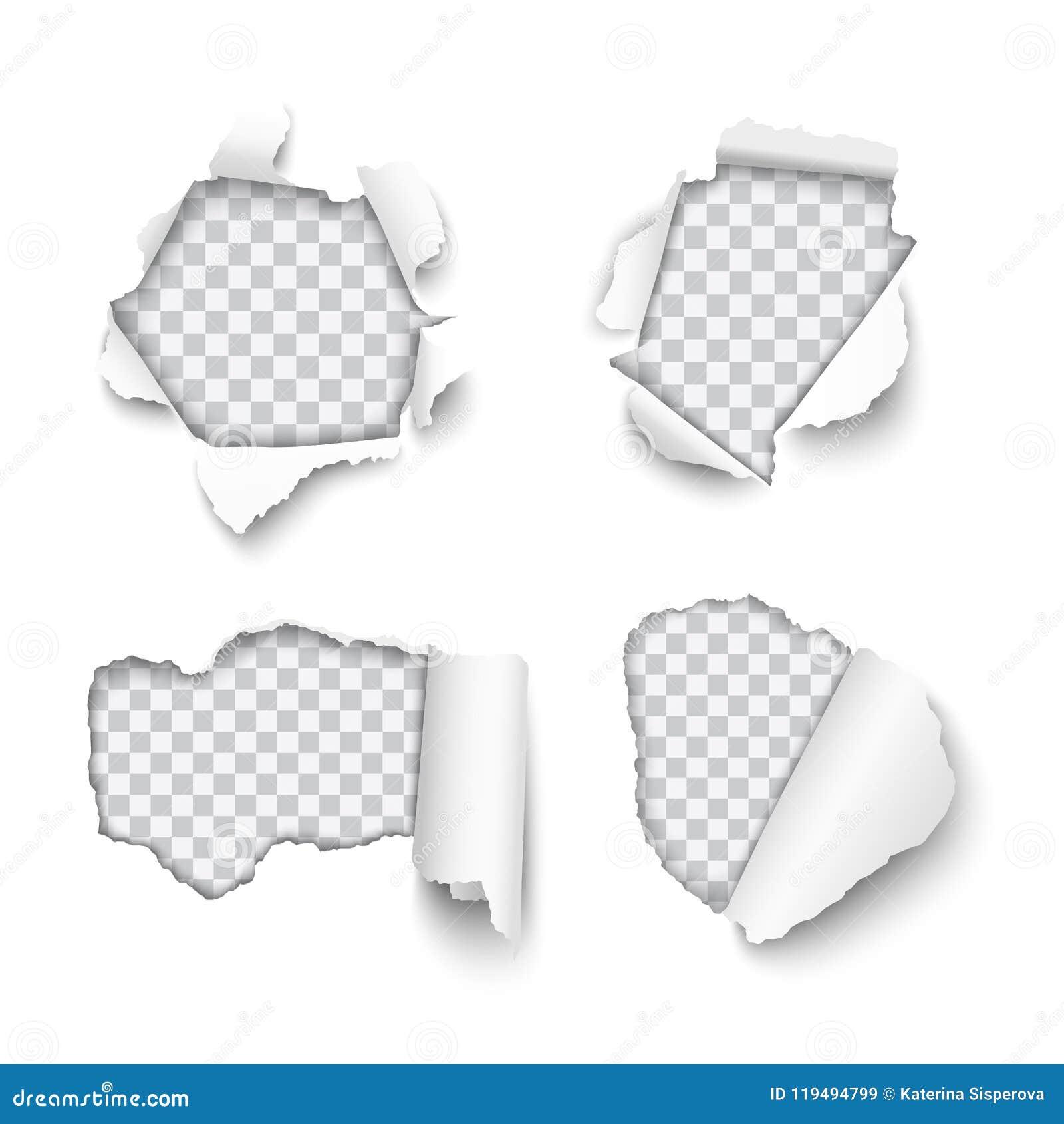 Ensemble de vecteur de divers trous déchirés en papier avec l isolant roulé de bords