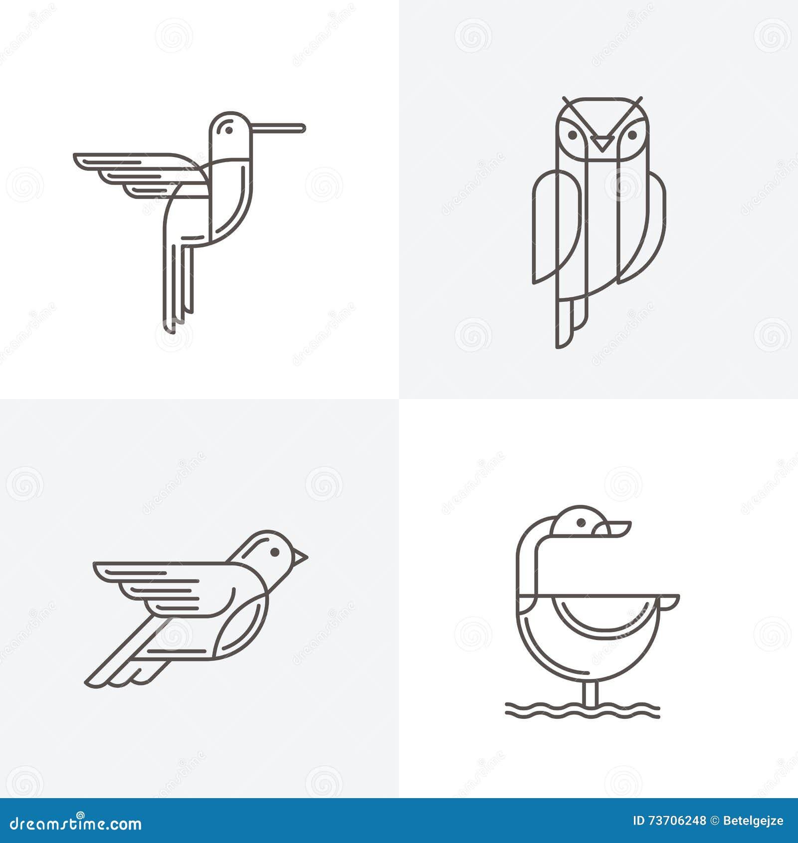 ensemble de vecteur logo de sch u00e9ma avec des oiseaux