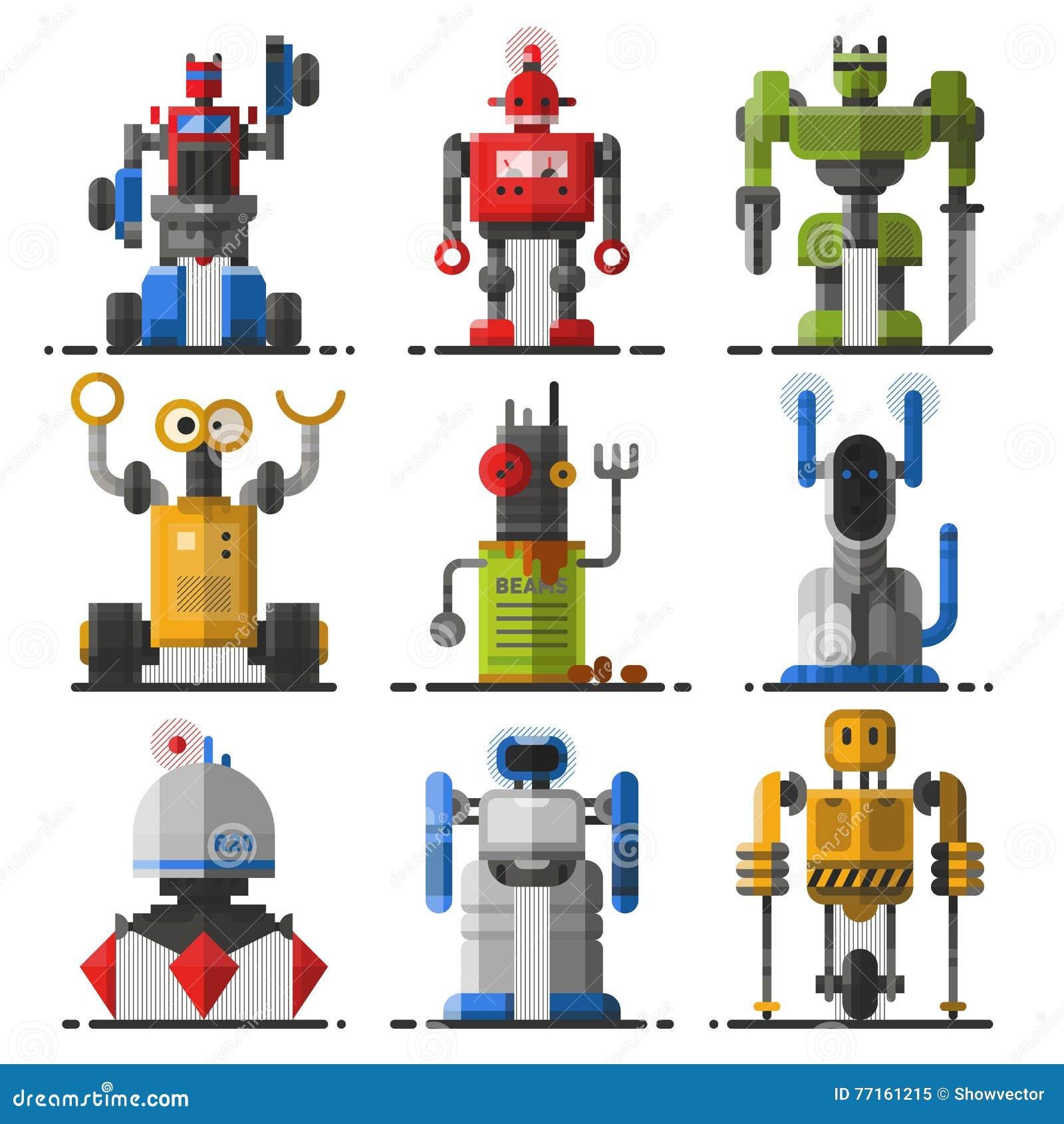 Ensemble de vecteur mignon de robots de vintage