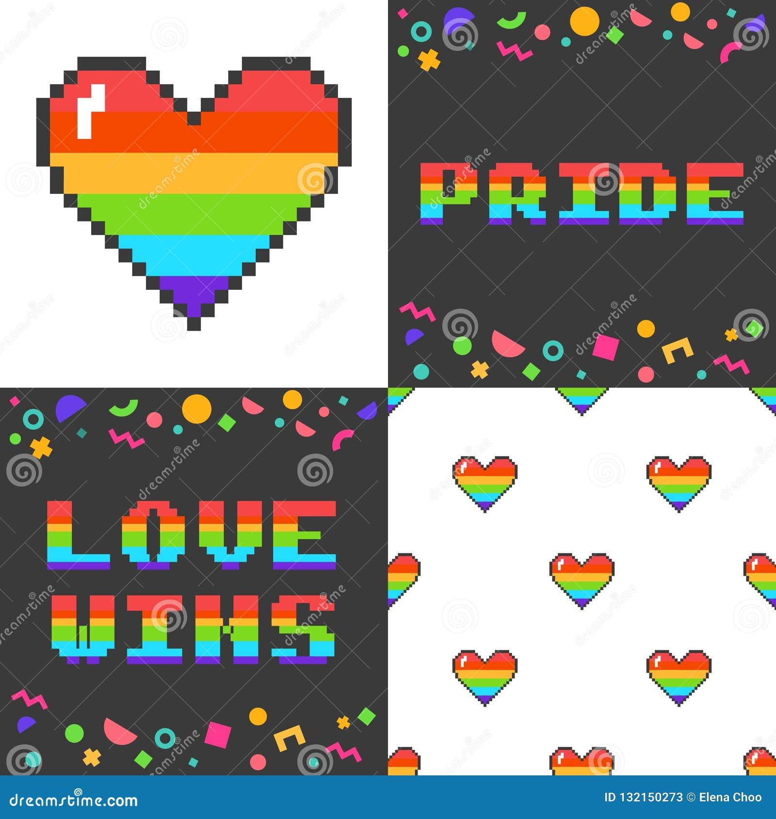 Ensemble de vecteur de quatre 8 affiches mordues de l art LGBT de pixel