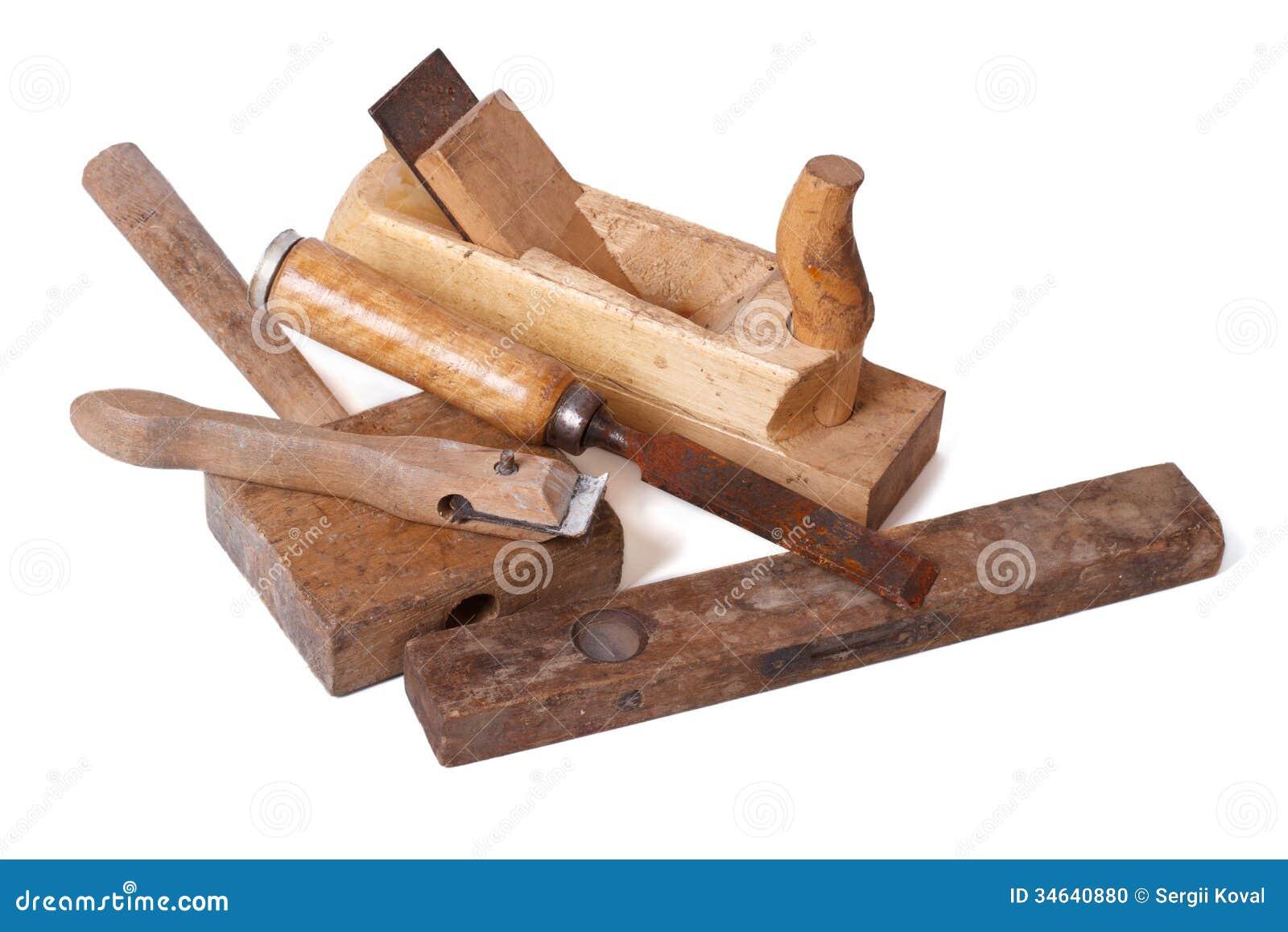Ensemble De Vieux Outils De Bricolage En Bois Disolement Photo stock  ~ Vieux Outils En Bois
