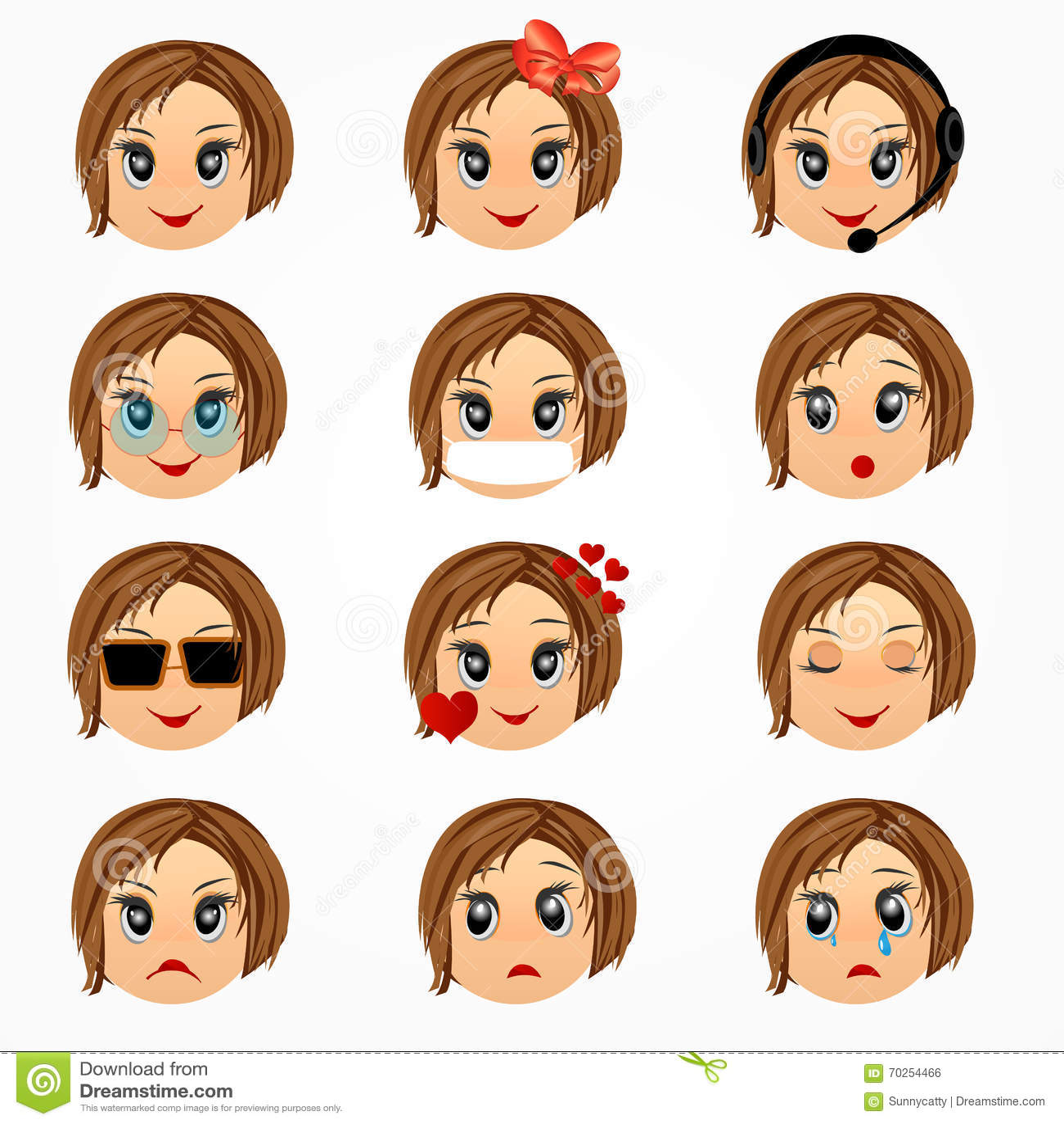 Populaire Ensemble De Visage D'émotions De Fille D'enfant Visages De Smiley  EB27