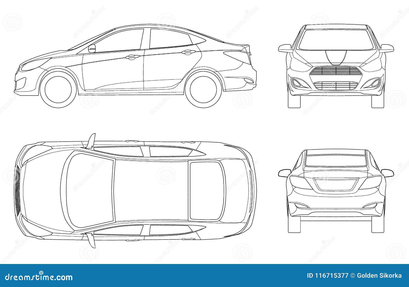 Ensemble de voitures de berline dans le contour Véhicule hybride compact Automobile de pointe qui respecte l environnement Voitur