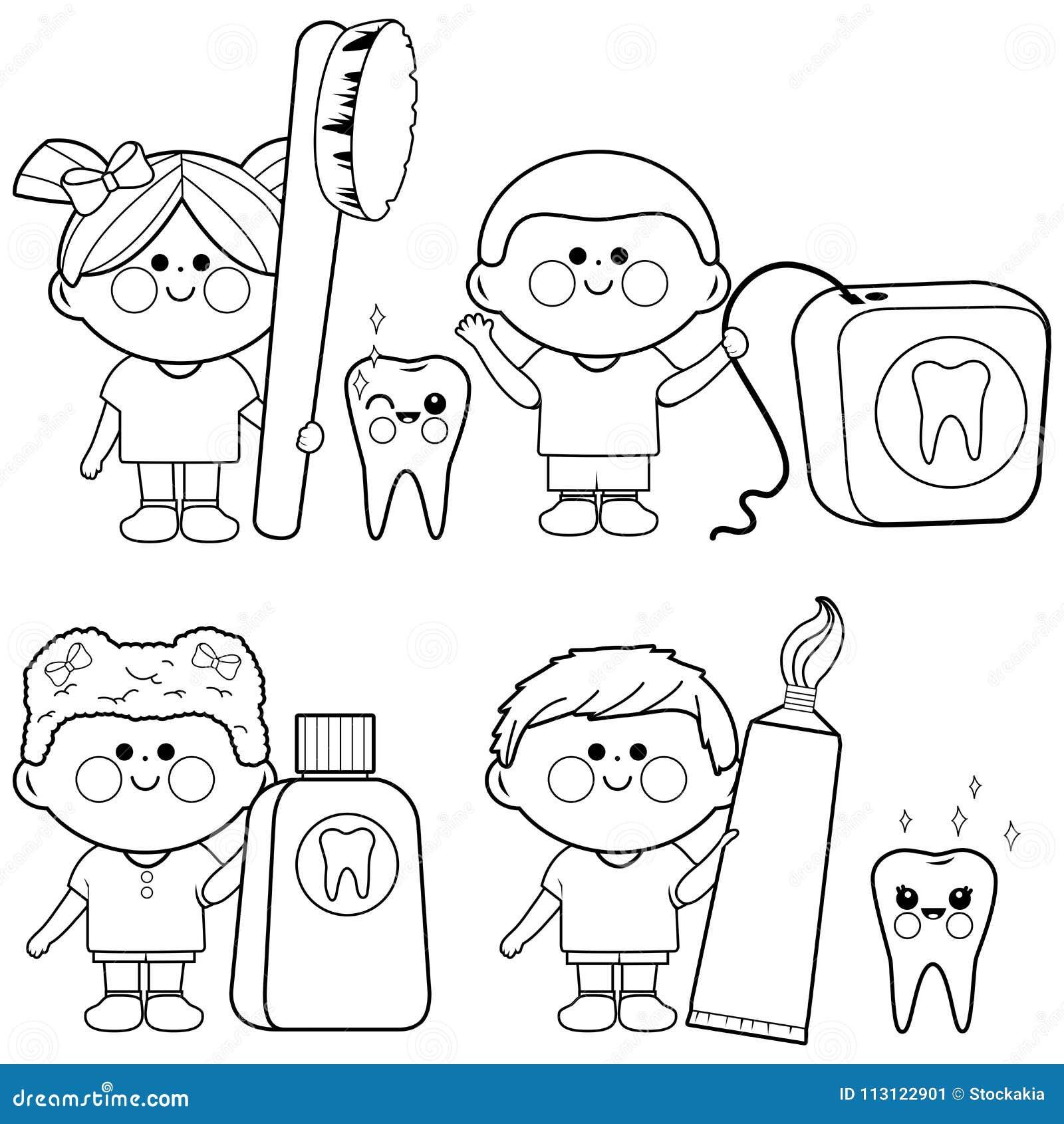 Ensemble Dentaire De Vecteur Denfants Page De Livre De Coloriage