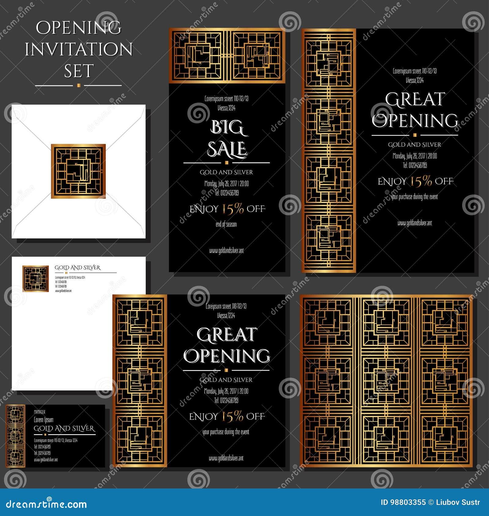 Ensemble Des Cartes Dinvitation Avec Lornement Dor Sur Le Fond Noir Stockez Louverture Collection Enveloppe Carte De Visite Professionnelle