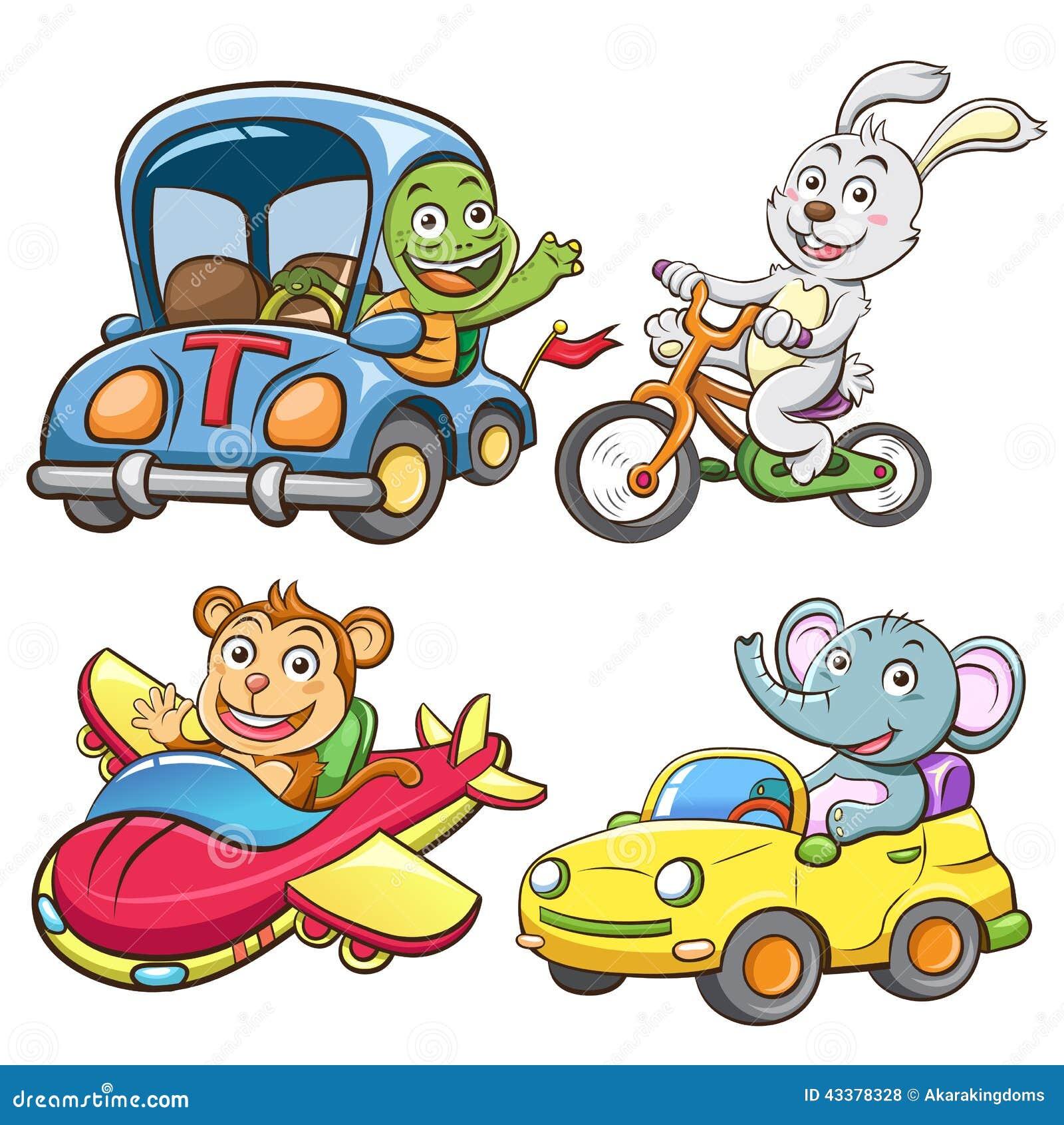 Ensemble drôle de véhicule et d animal