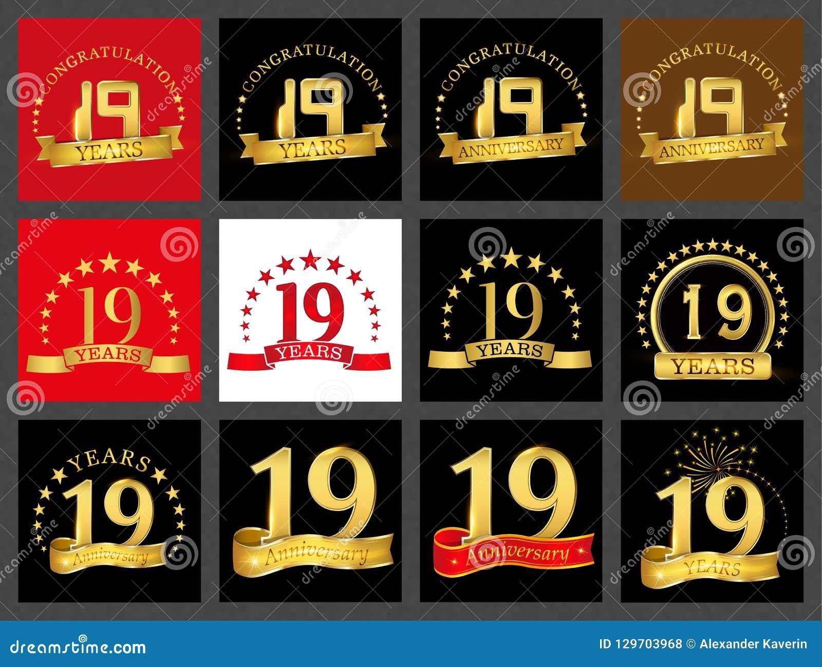 Ensemble du numéro dix-neuf 19 ans de conception de célébration Éléments d or de calibre de nombre d anniversaire pour votre fête